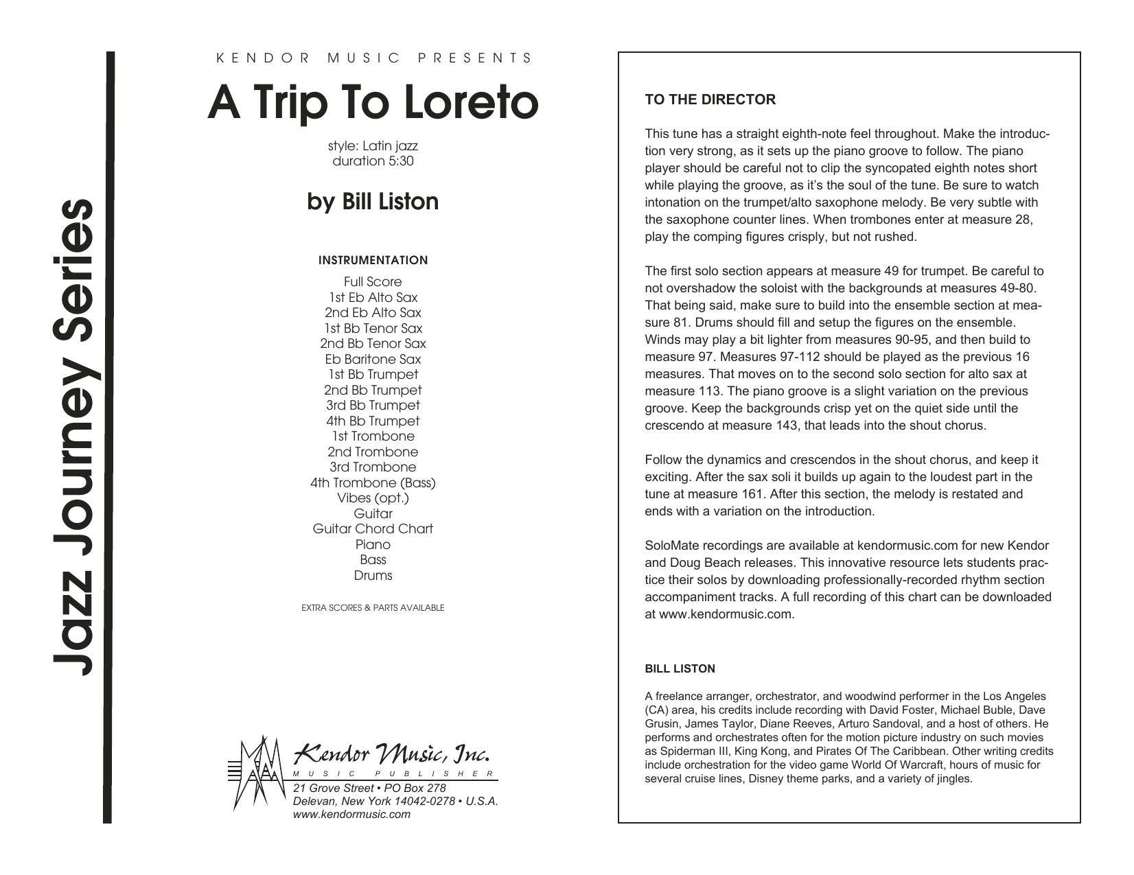 A Trip To Loreto (COMPLETE) sheet music for jazz band by Bill Liston. Score Image Preview.