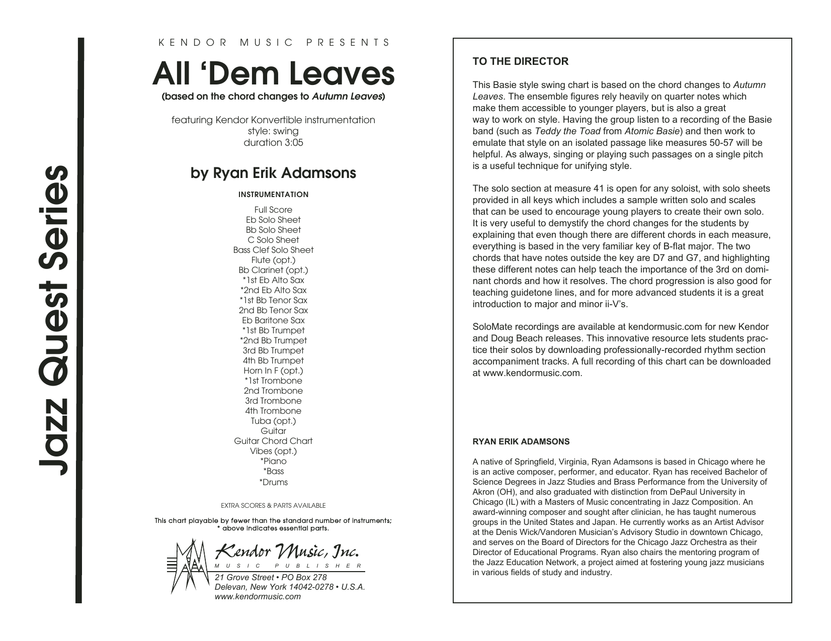 All 'Dem Leaves (based on the chord changes to Autumn Leaves) (COMPLETE) sheet music for jazz band by Ryan Erik Adamsons. Score Image Preview.