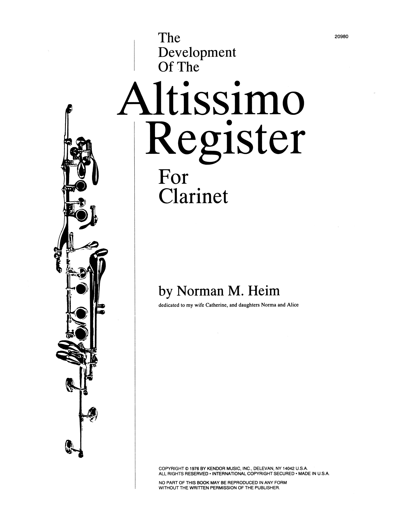 The Development Of The Altissimo Register For Clarinet Sheet Music