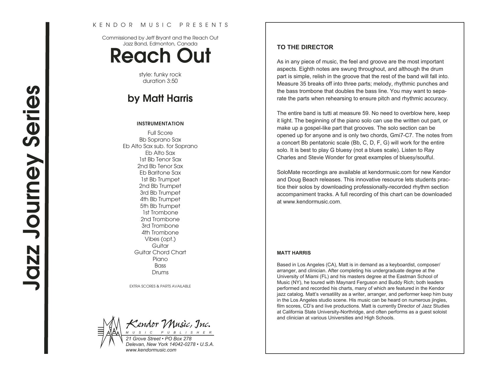 Reach Out (COMPLETE) sheet music for jazz band by Matt Harris. Score Image Preview.