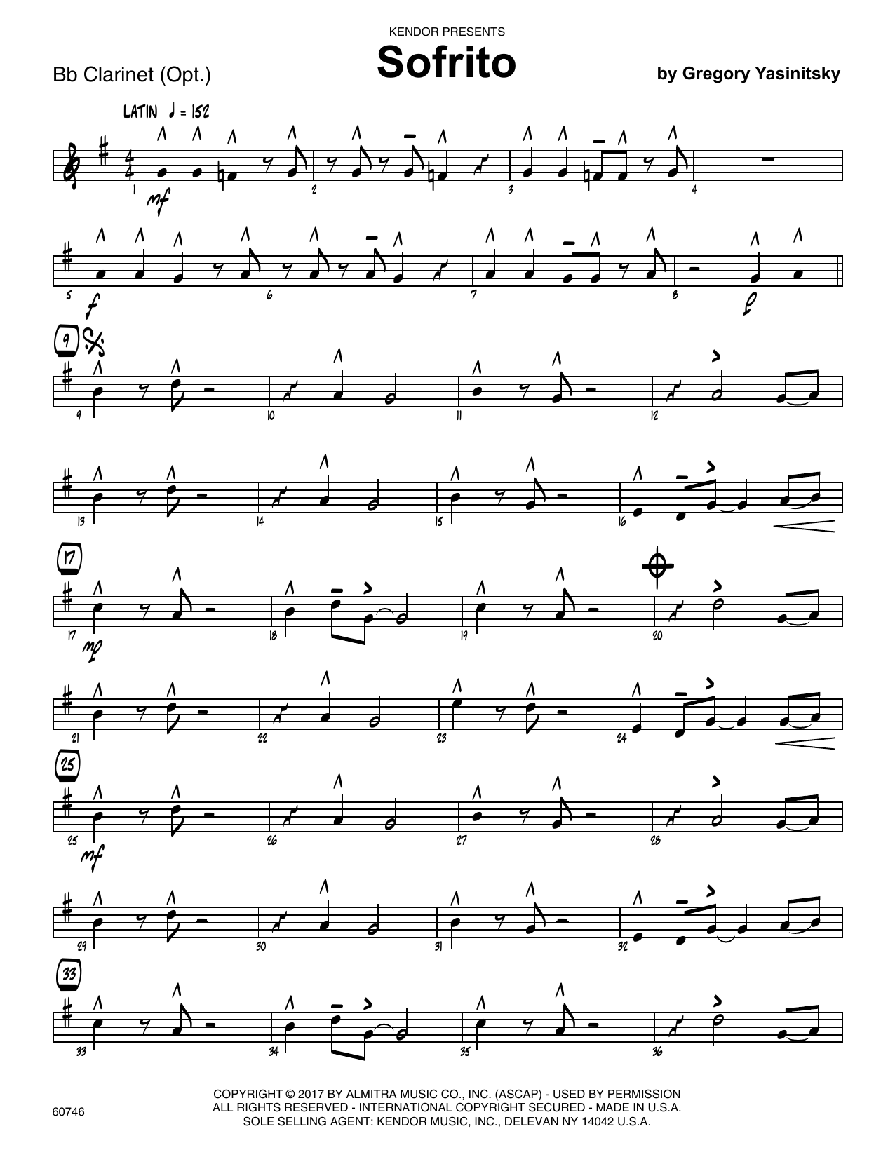 Sofrito - Bb Clarinet Sheet Music