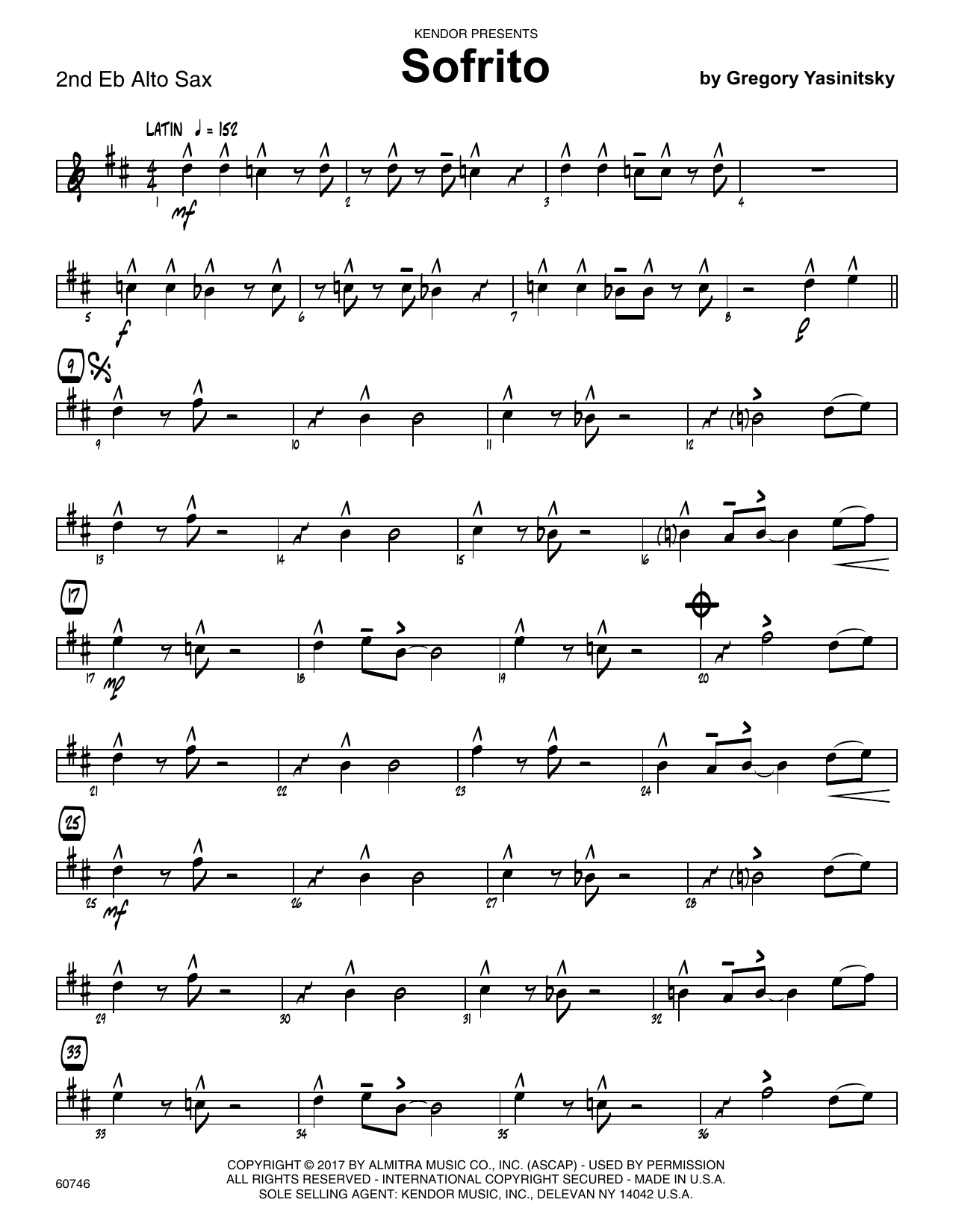 Sofrito - 2nd Eb Alto Saxophone Sheet Music