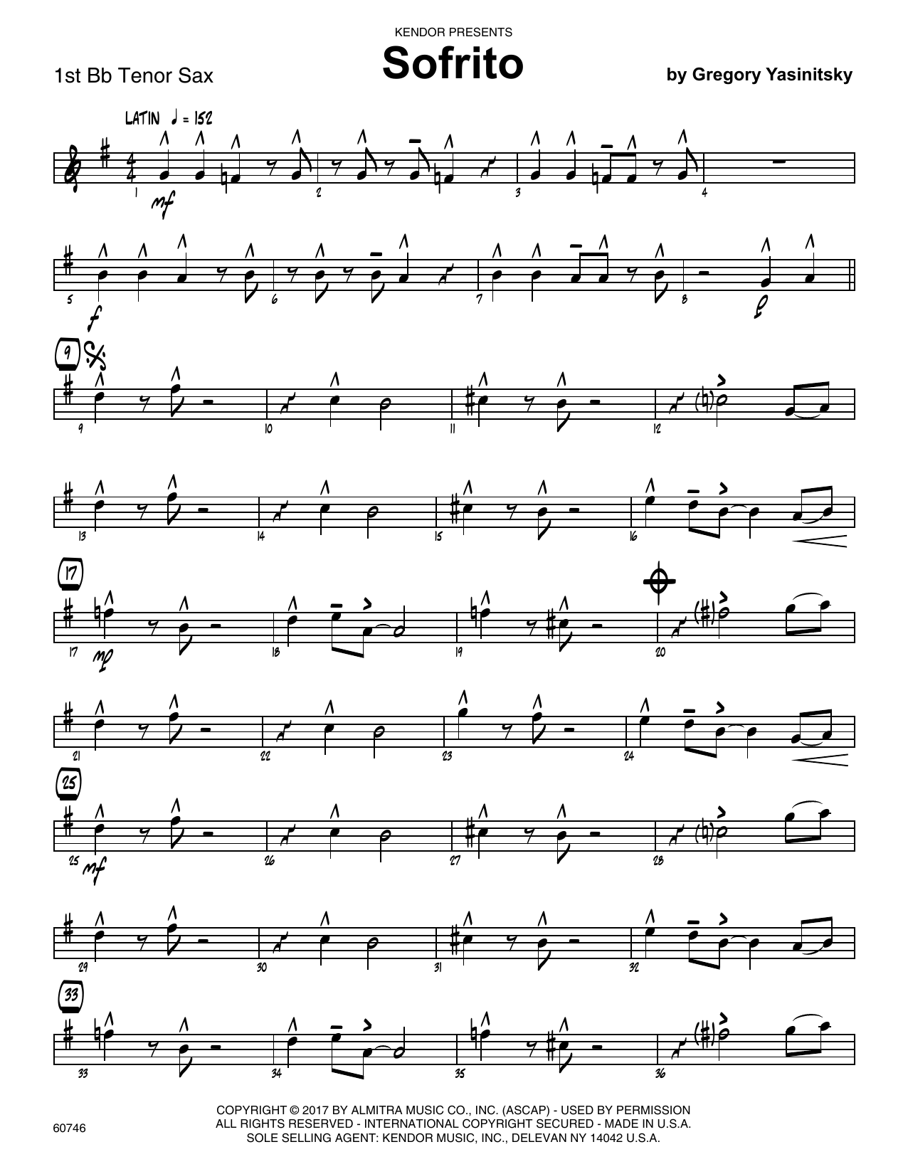Sofrito - 1st Tenor Saxophone Sheet Music