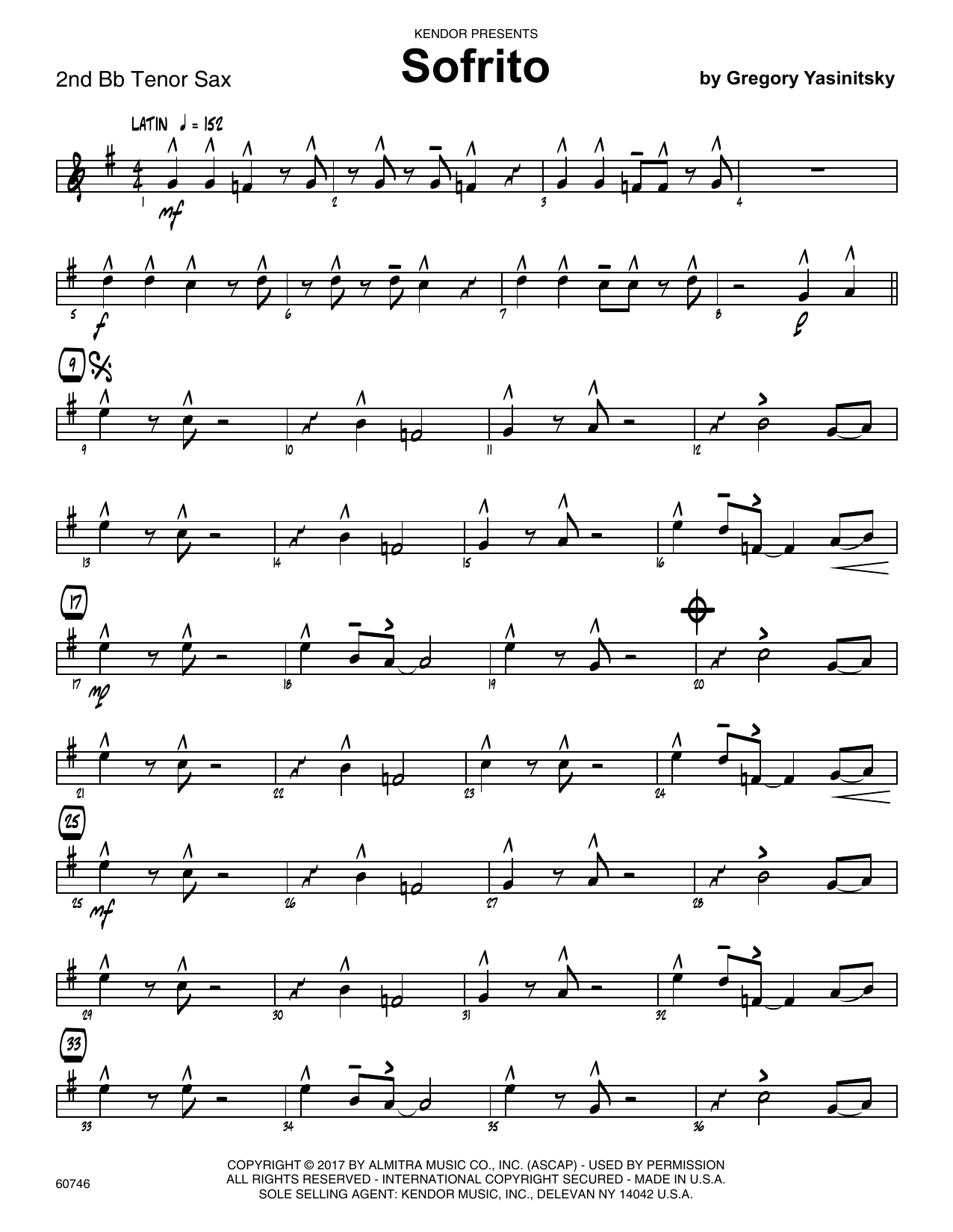Sofrito - 2nd Bb Tenor Saxophone Sheet Music