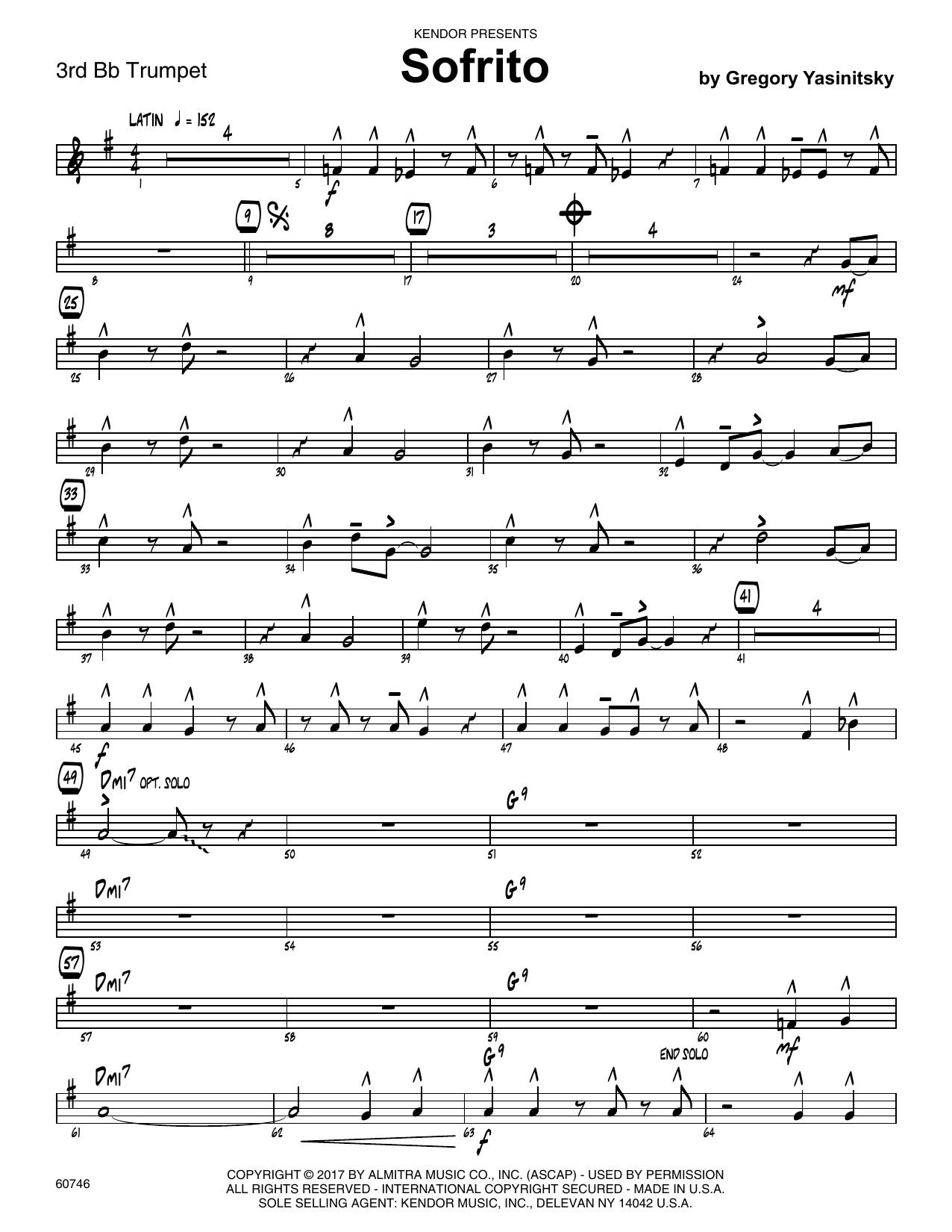 Sofrito - 3rd Bb Trumpet Sheet Music