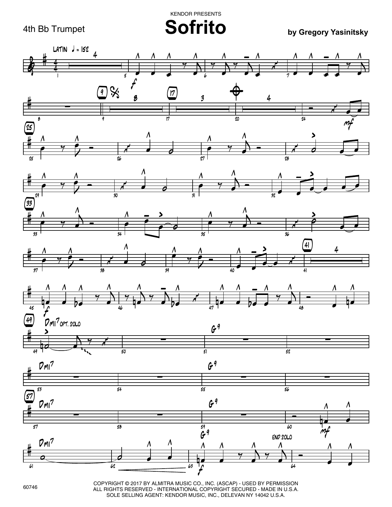 Sofrito - 4th Bb Trumpet Sheet Music