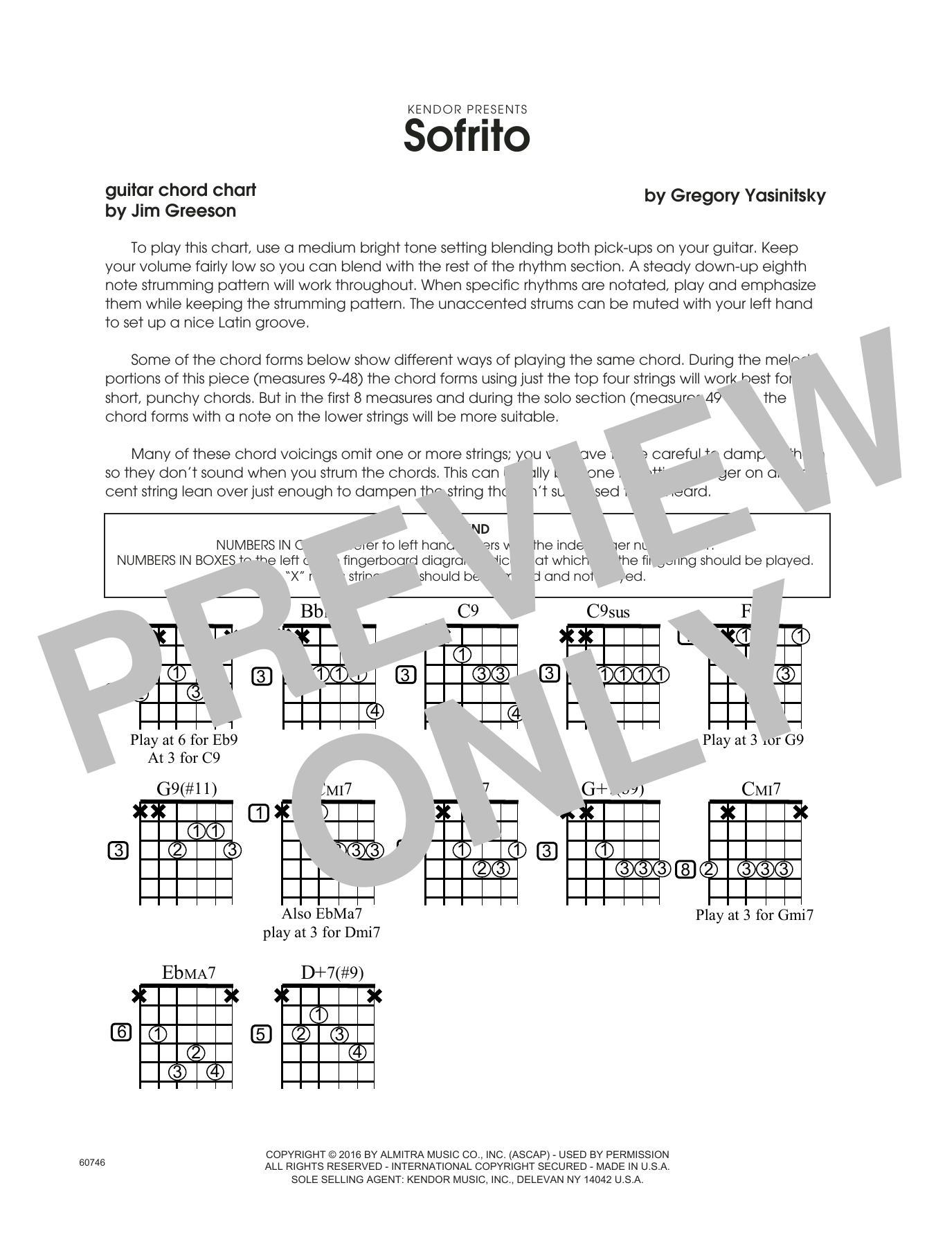 Sofrito - Guitar Chord Chart Sheet Music