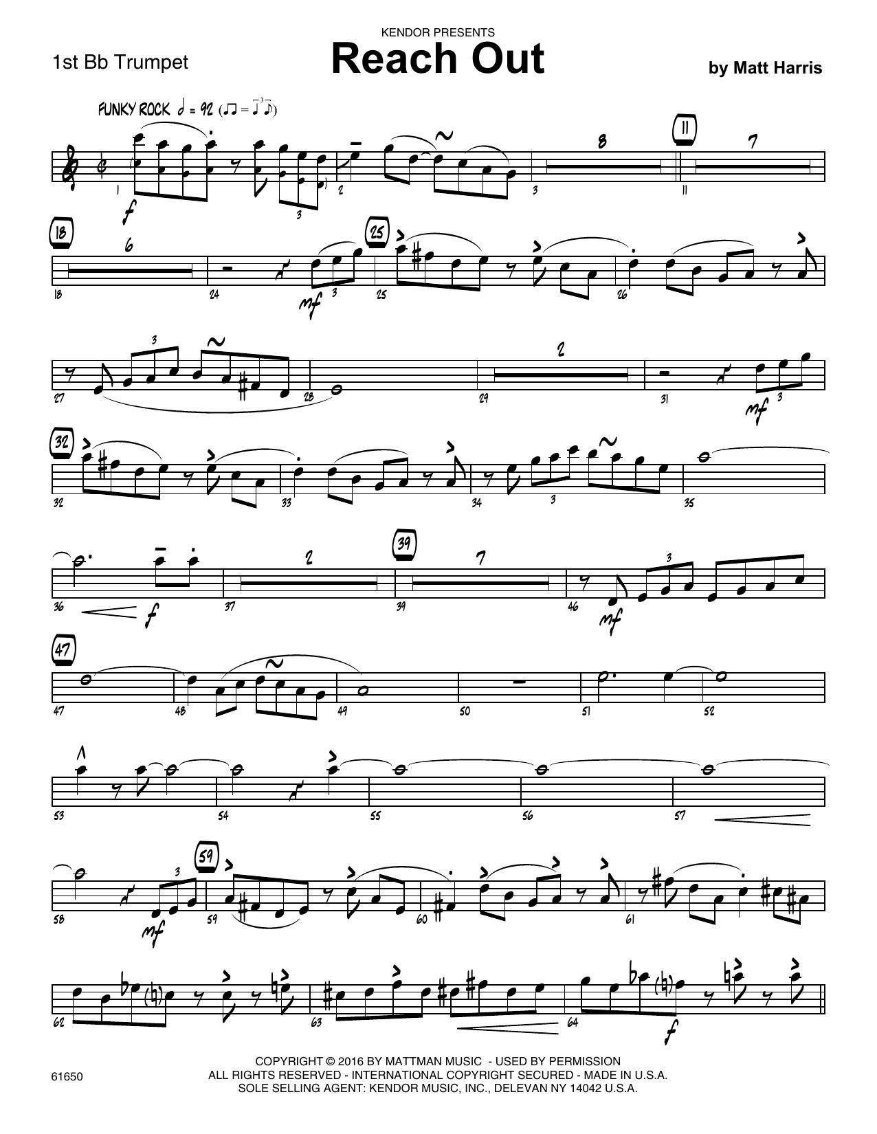 Reach Out - 1st Bb Trumpet Sheet Music