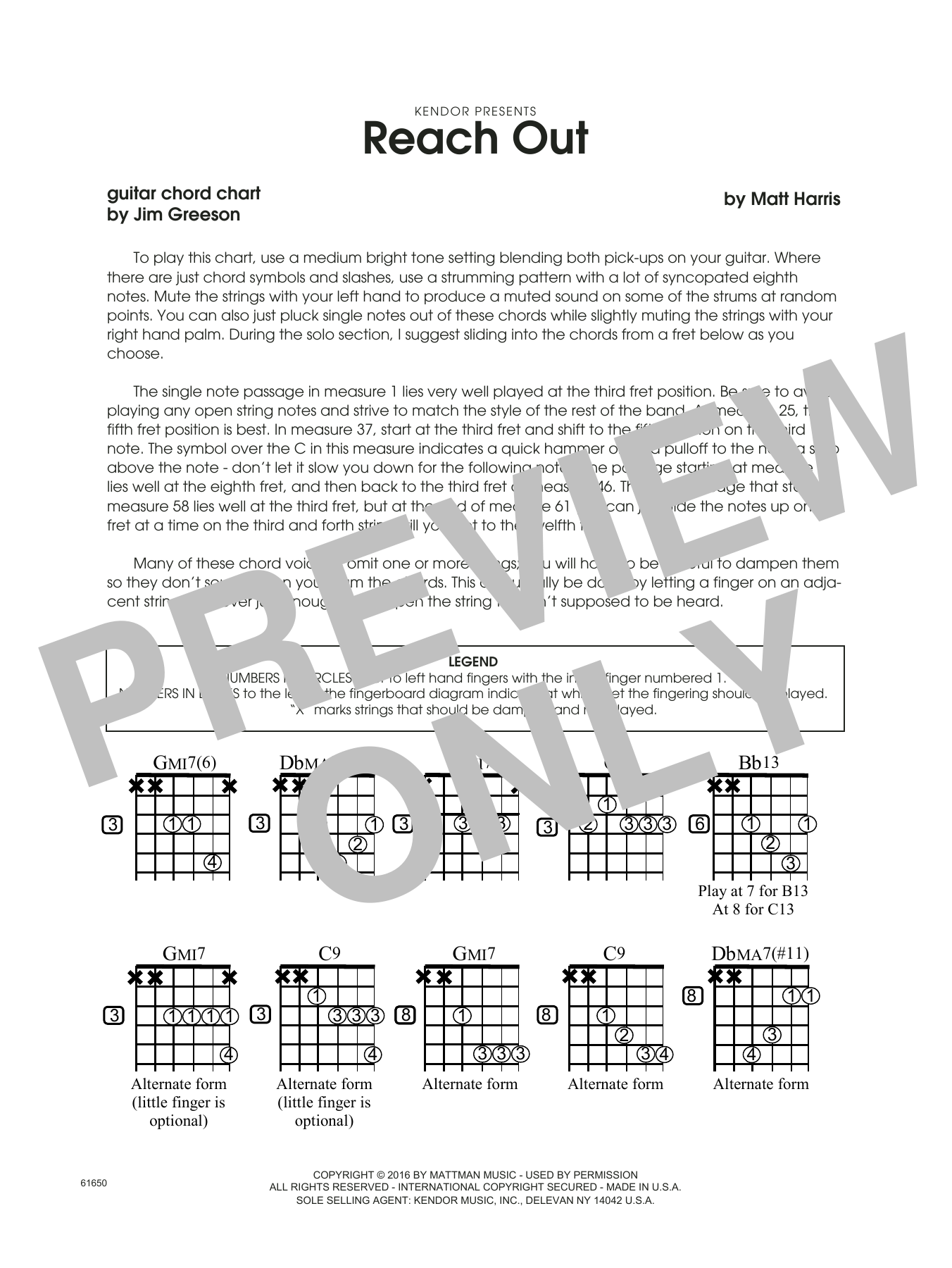 Reach Out - Guitar Chord Chart Sheet Music