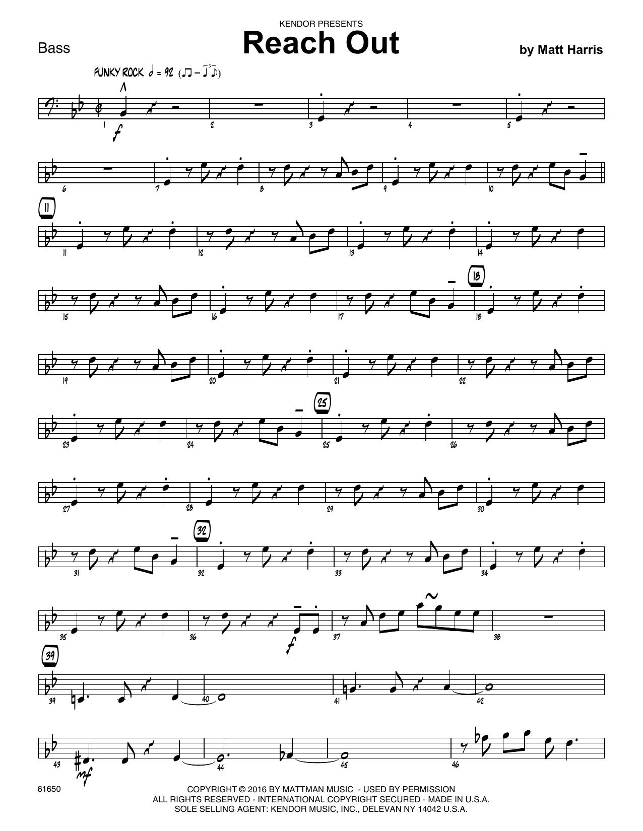 Reach Out - Bass Sheet Music