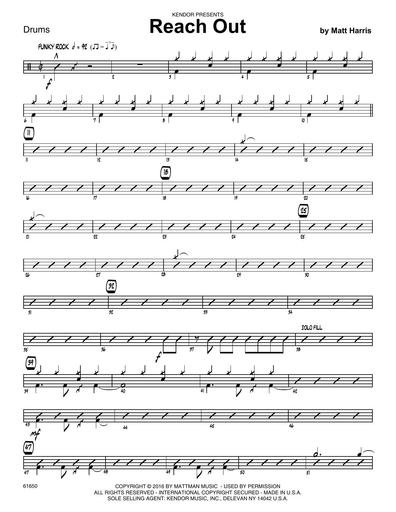 Reach Out - Drum Set Sheet Music