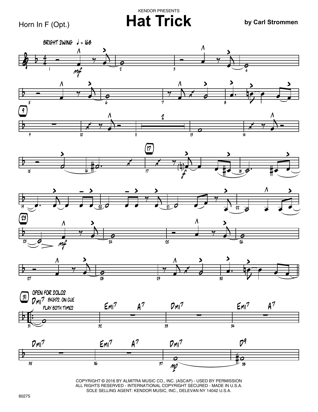 Hat Trick - Horn in F Sheet Music