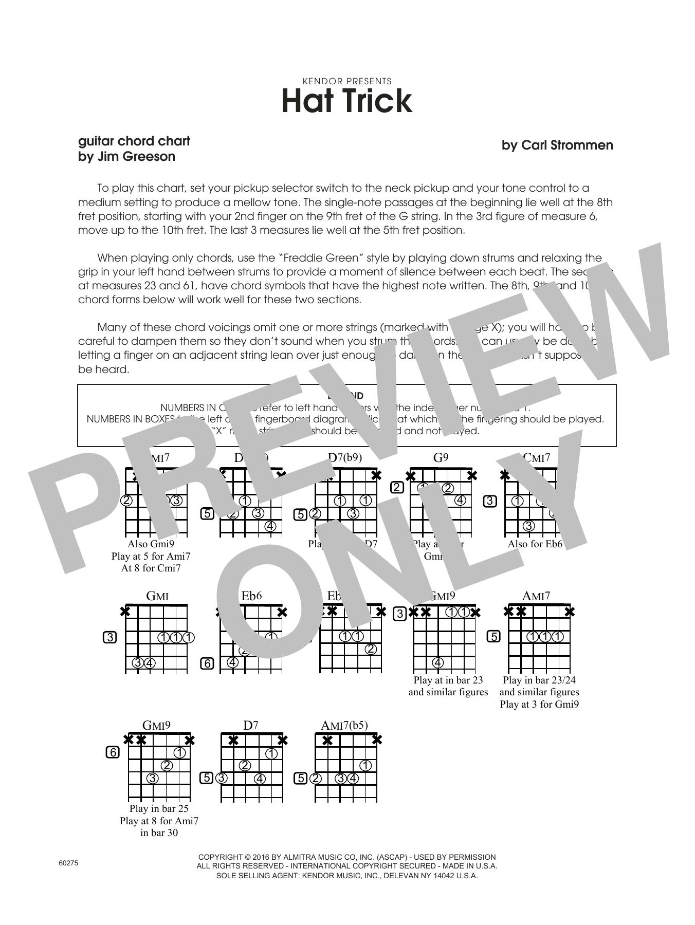 Hat Trick - Guitar Chord Chart Sheet Music