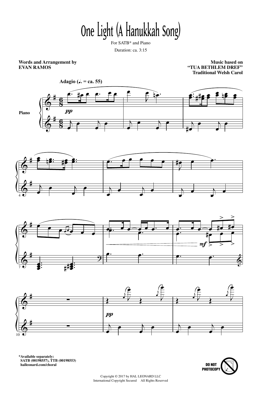 One Light (A Hanukkah Song) Sheet Music