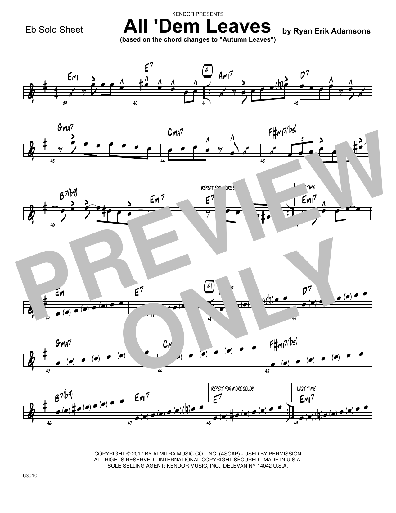 All 'Dem Leaves (based on the chord changes to Autumn Leaves) - Solo Sheet - Alto Sax Sheet Music