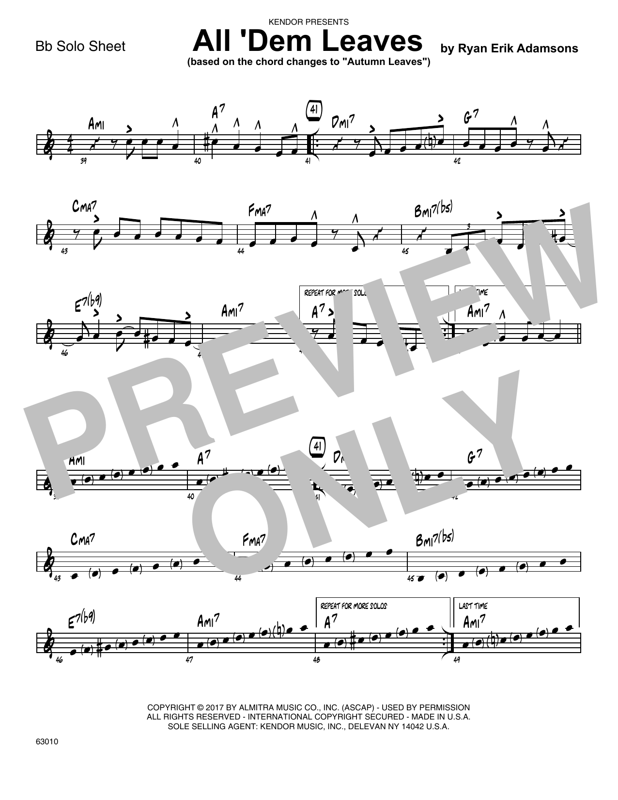 All 'Dem Leaves (based on the chord changes to Autumn Leaves) - Solo Sheet - Tenor Sax Sheet Music