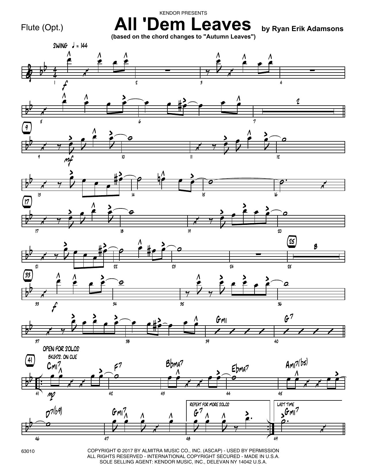 All 'Dem Leaves (based on the chord changes to Autumn Leaves) - Flute Partituras Digitales