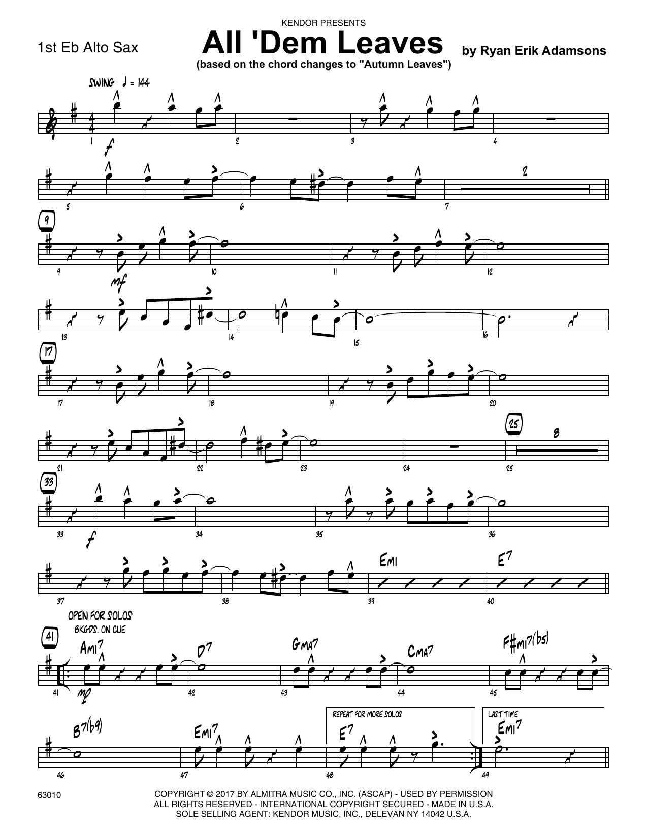 All 'Dem Leaves (based on the chord changes to Autumn Leaves) - 1st Eb Alto Saxophone Sheet Music