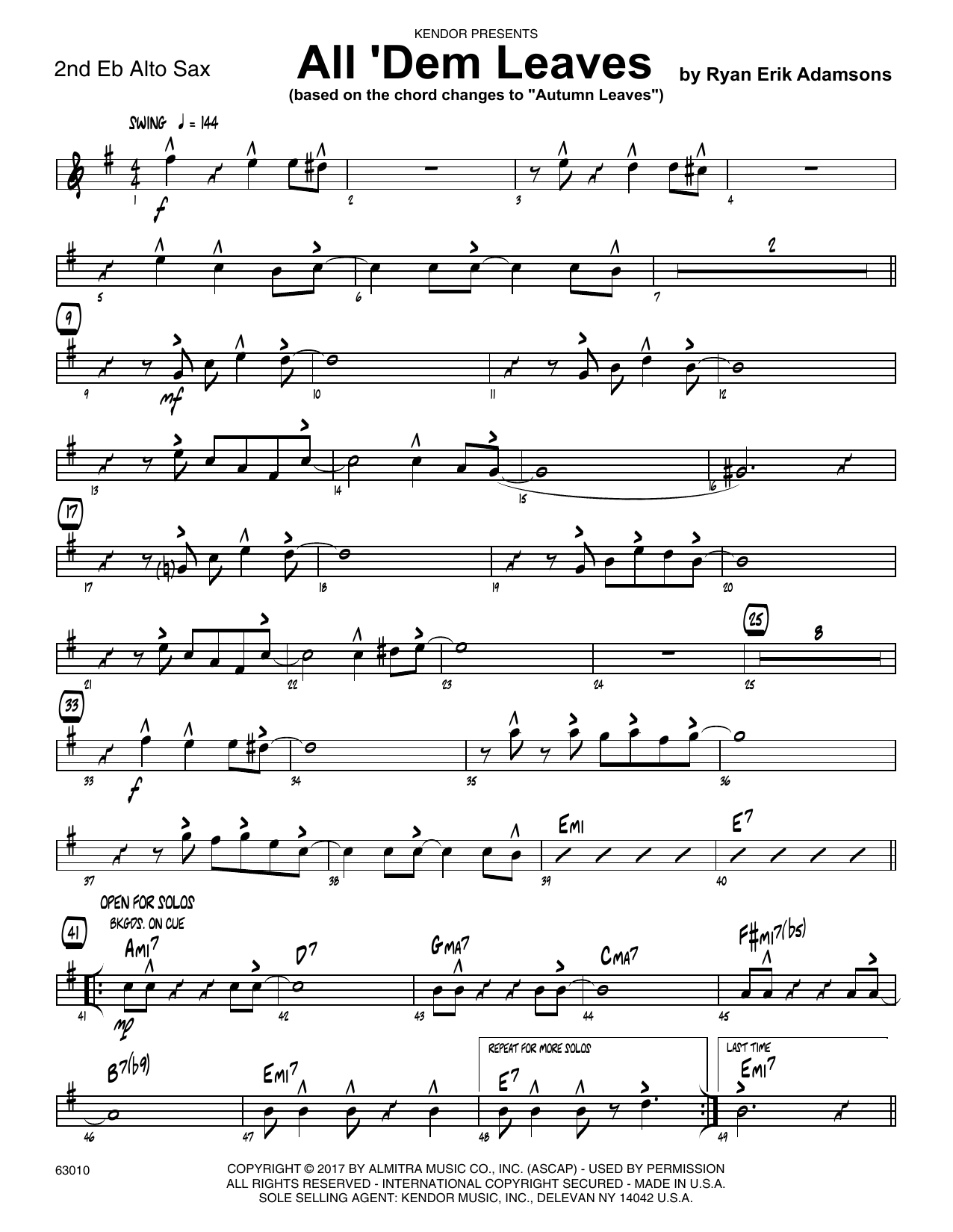 All 'Dem Leaves (based on the chord changes to Autumn Leaves) - 2nd Eb Alto Saxophone Sheet Music