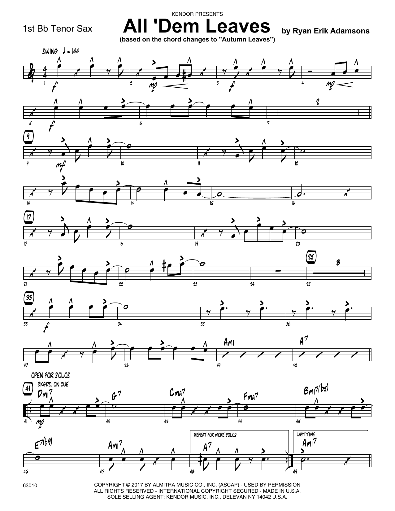 All 'Dem Leaves (based on the chord changes to Autumn Leaves) - 1st Tenor Saxophone Sheet Music