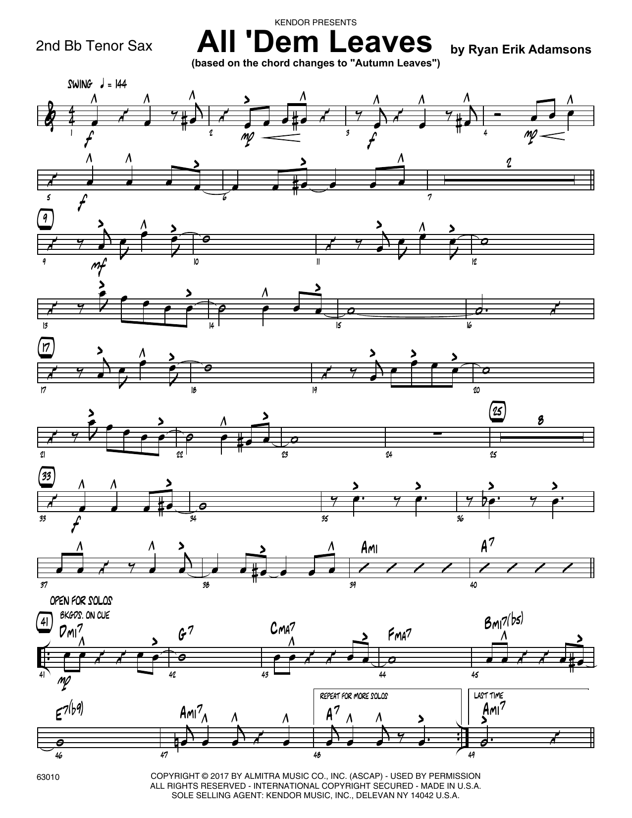 All 'Dem Leaves (based on the chord changes to Autumn Leaves) - 2nd Bb Tenor Saxophone Sheet Music