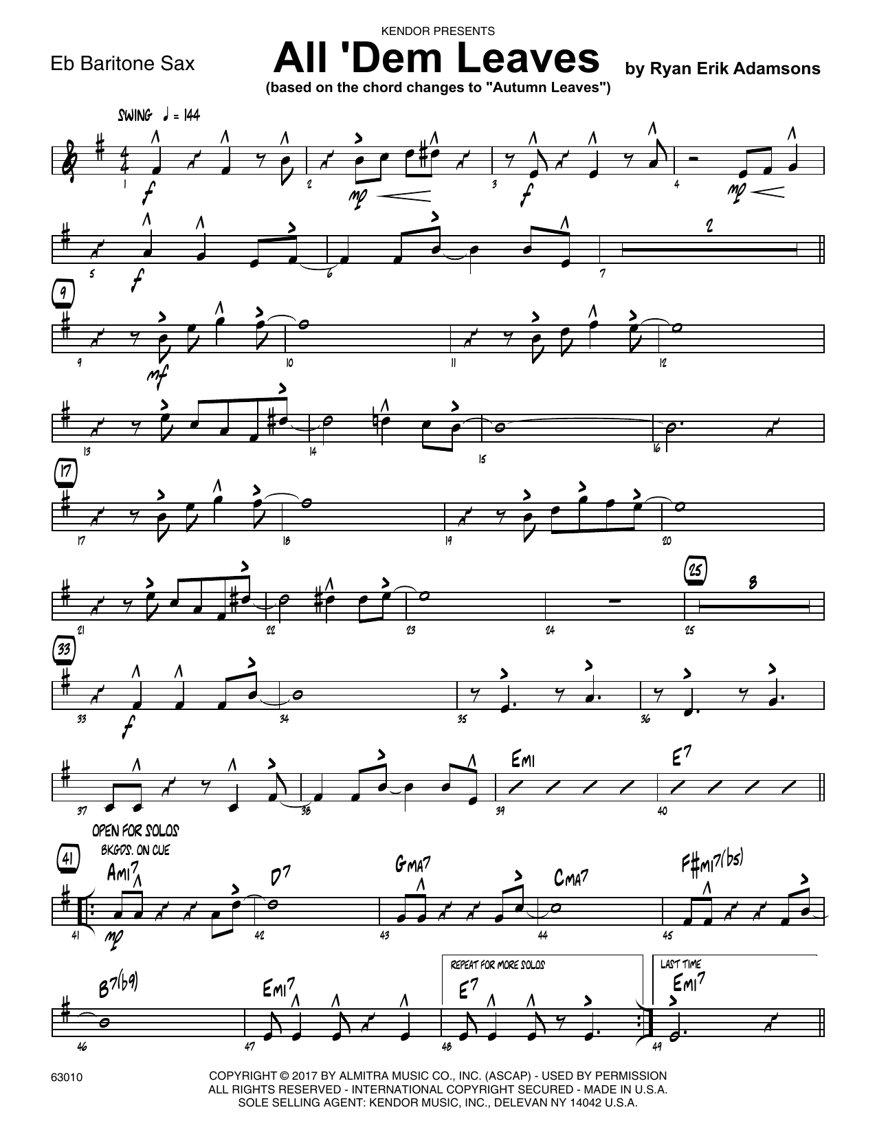 All 'Dem Leaves (based on the chord changes to Autumn Leaves) - Eb Baritone Saxophone Sheet Music