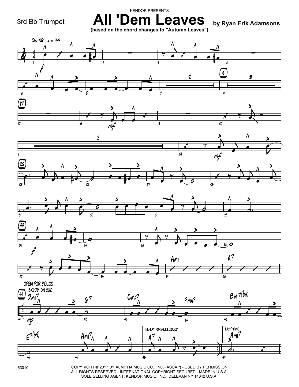 All 'Dem Leaves (based on the chord changes to Autumn Leaves) - 3rd Bb Trumpet Sheet Music