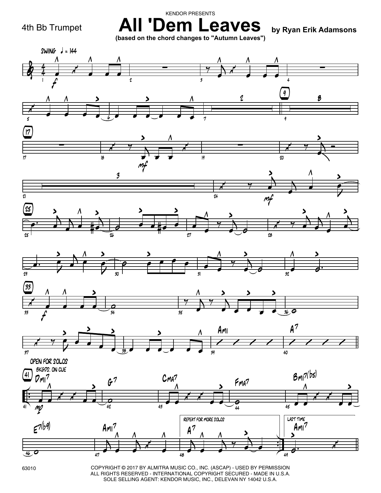 All 'Dem Leaves (based on the chord changes to Autumn Leaves) - 4th Bb Trumpet Sheet Music