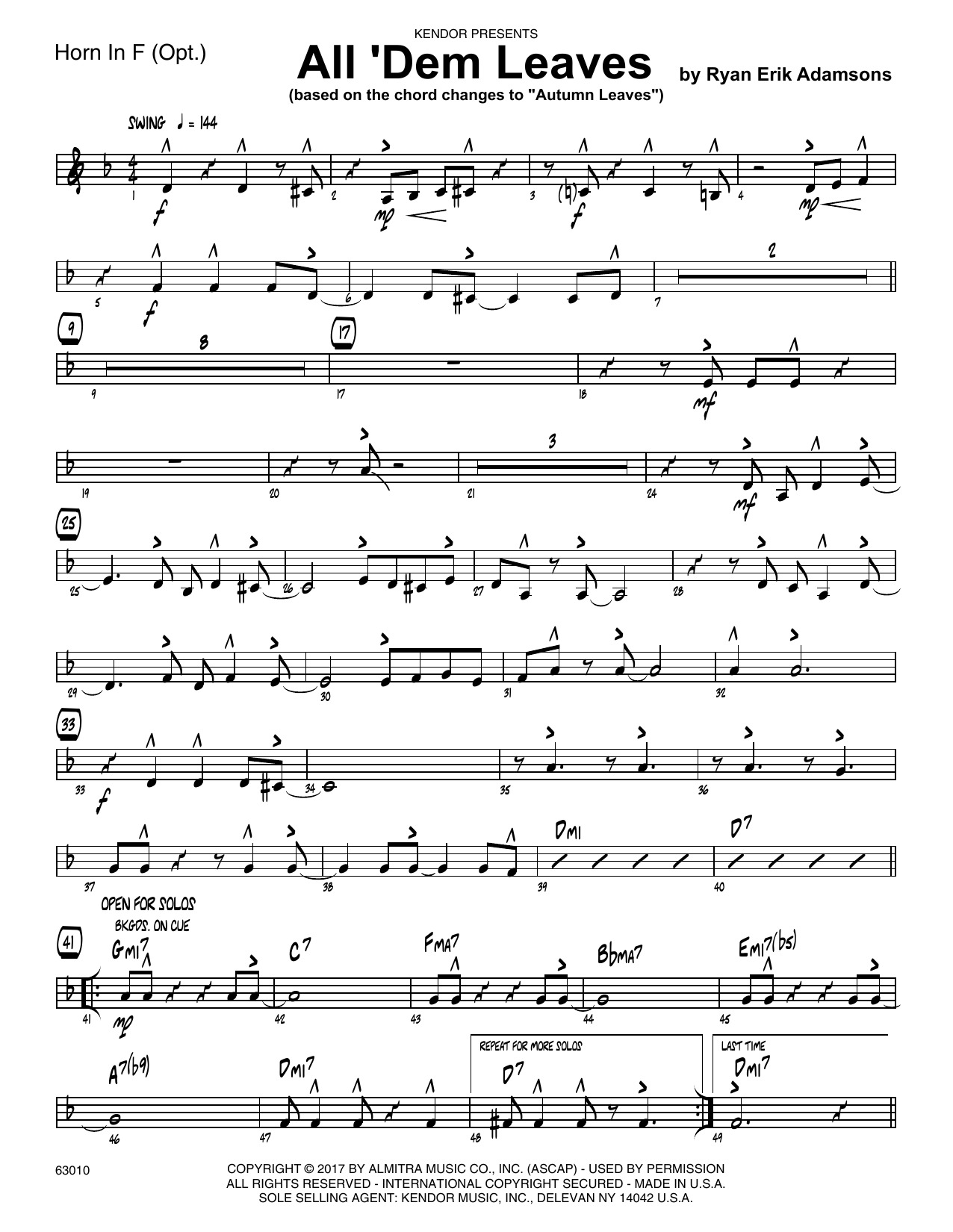 All 'Dem Leaves (based on the chord changes to Autumn Leaves) - Horn in F Sheet Music