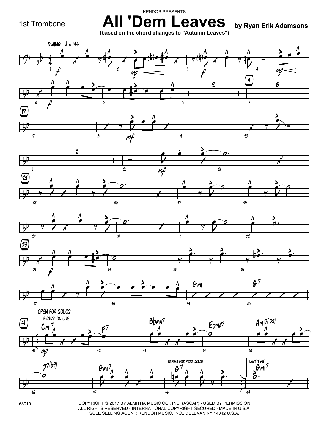 All 'Dem Leaves (based on the chord changes to Autumn Leaves) - 1st Trombone Sheet Music