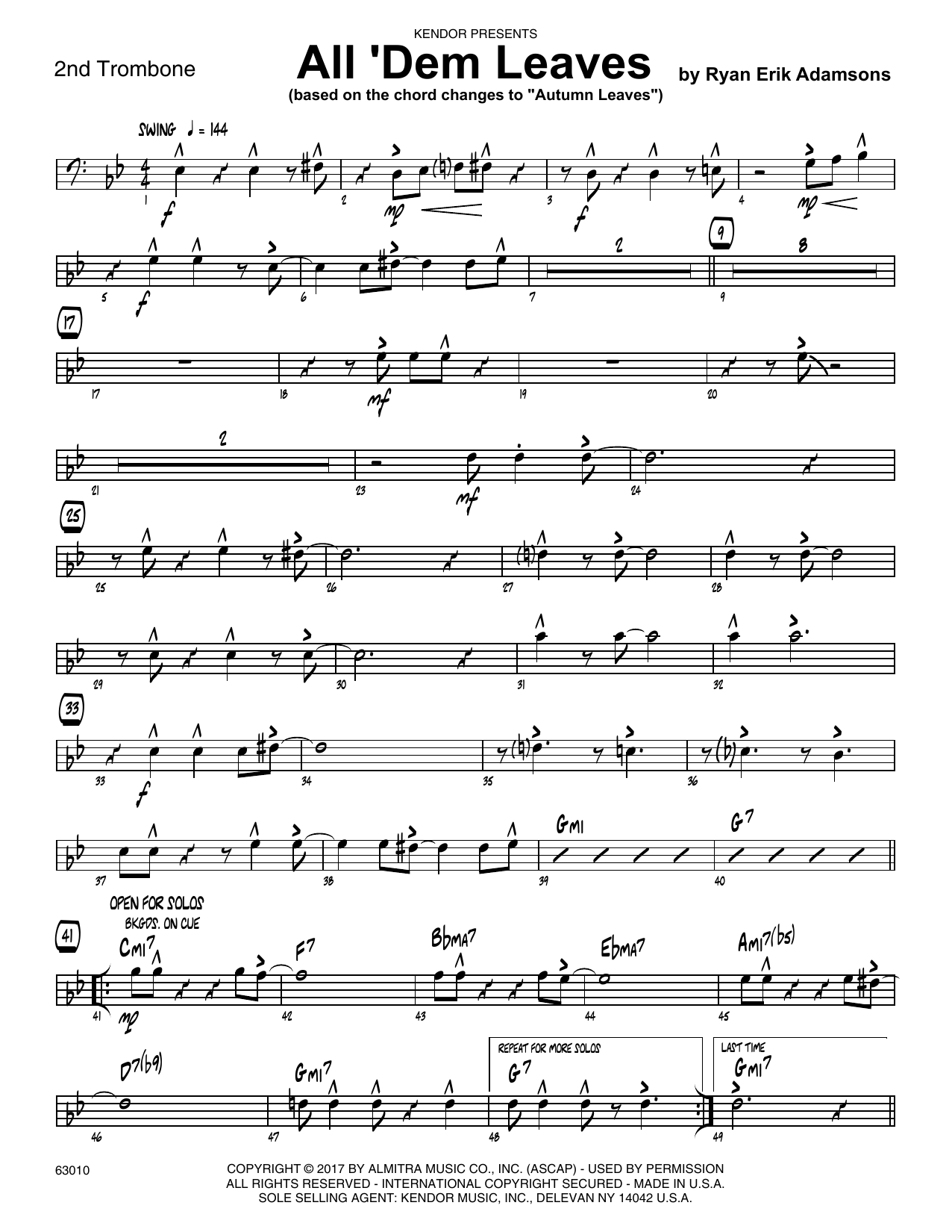 All 'Dem Leaves (based on the chord changes to Autumn Leaves) - 2nd Trombone Sheet Music