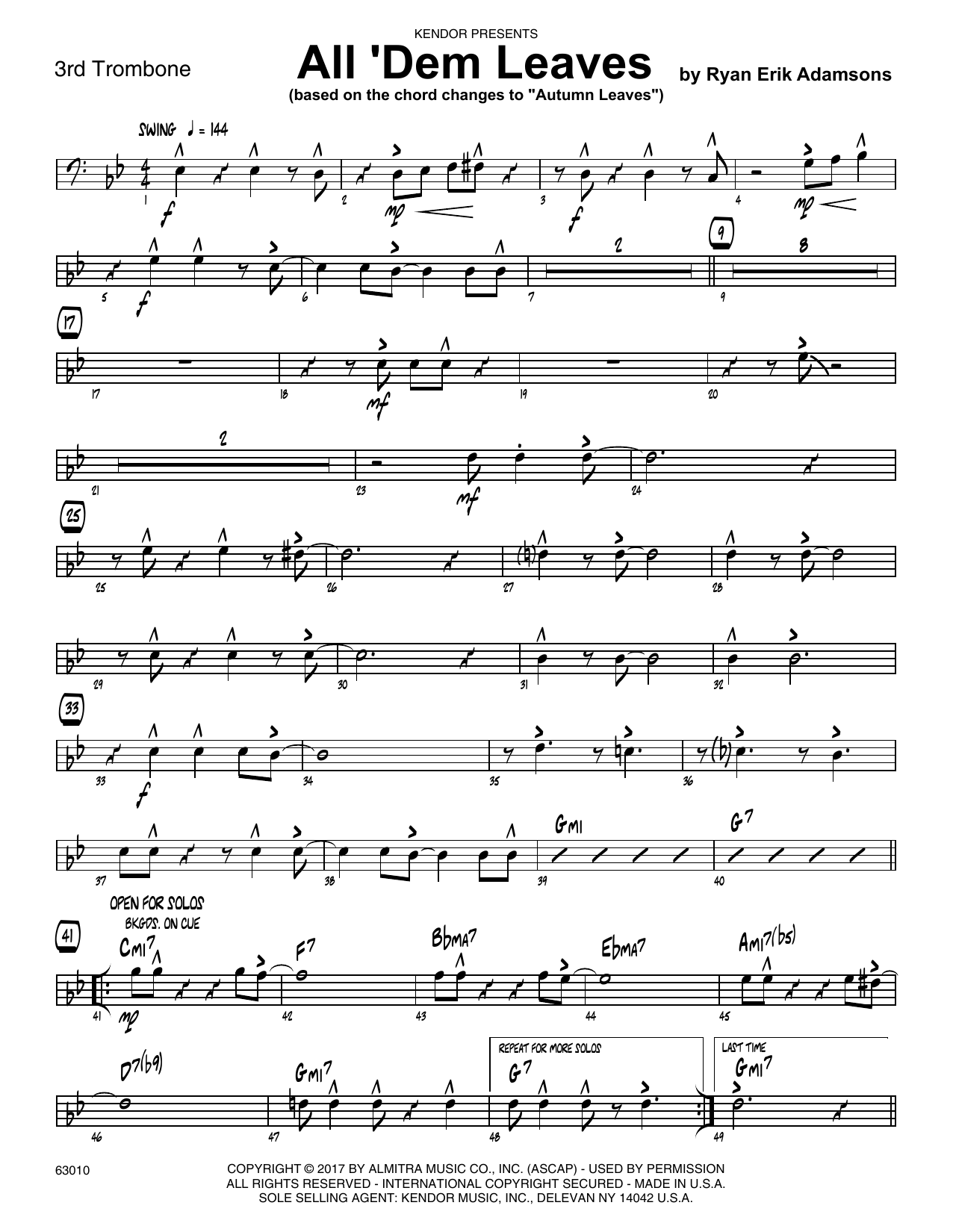 All 'Dem Leaves (based on the chord changes to Autumn Leaves) - 3rd Trombone Sheet Music