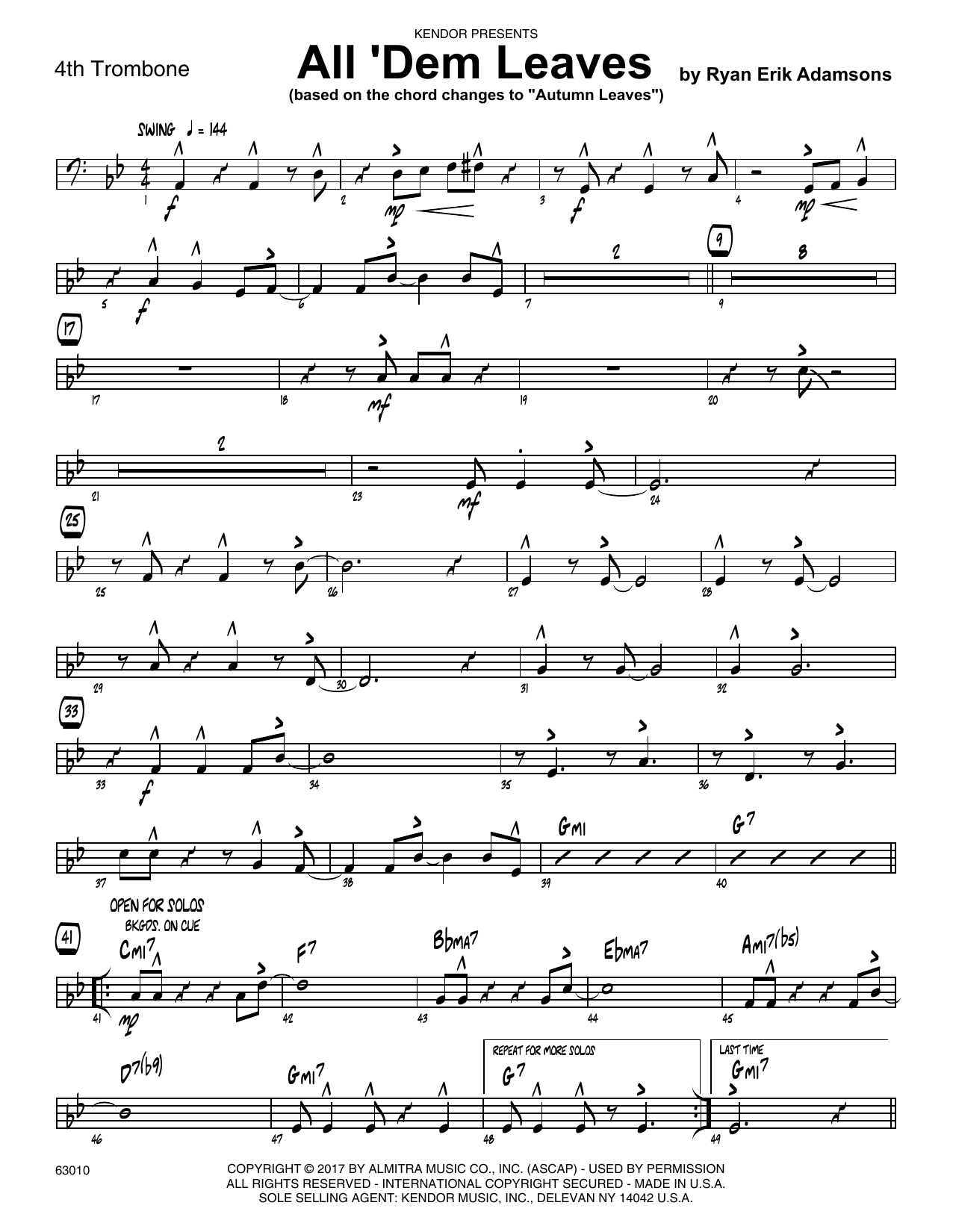 All 'Dem Leaves (based on the chord changes to Autumn Leaves) - 4th Trombone Sheet Music