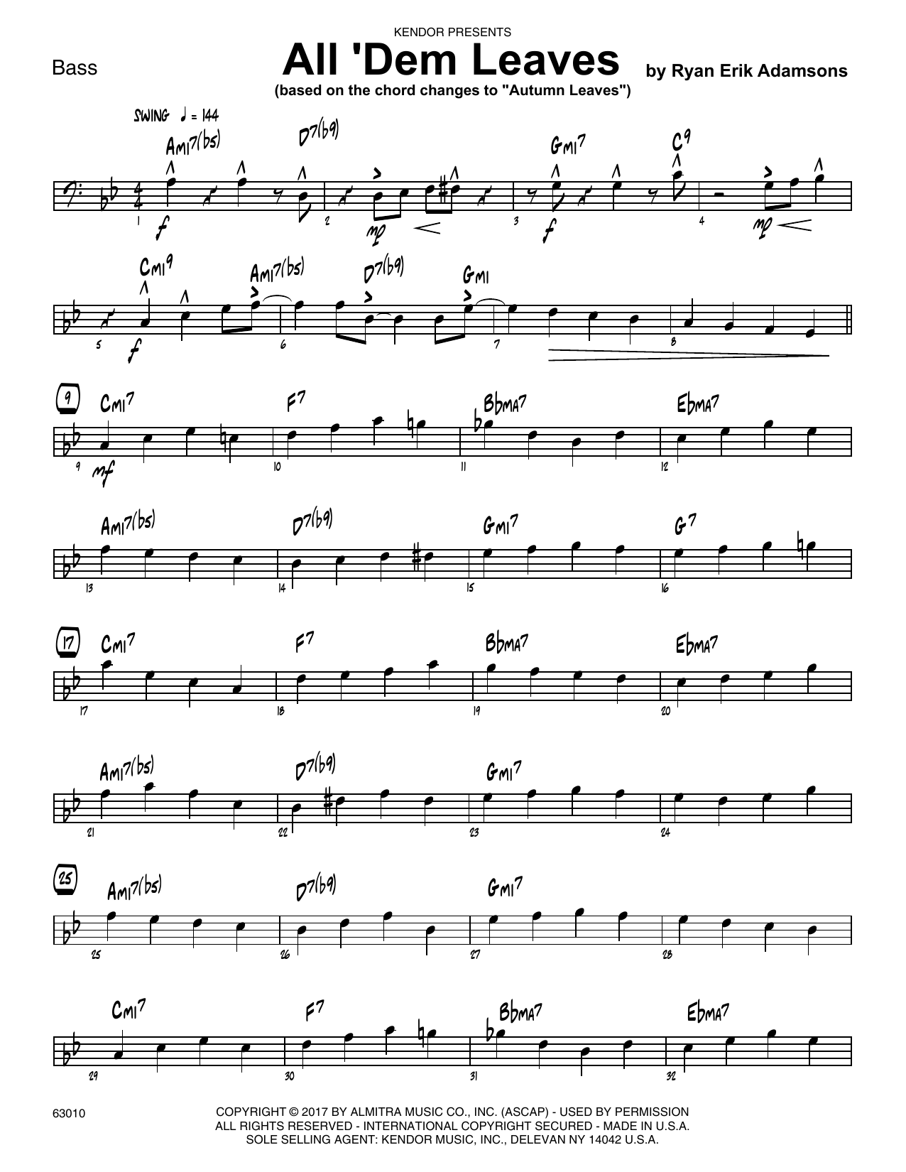 All 'Dem Leaves (based on the chord changes to Autumn Leaves) - Bass Sheet Music