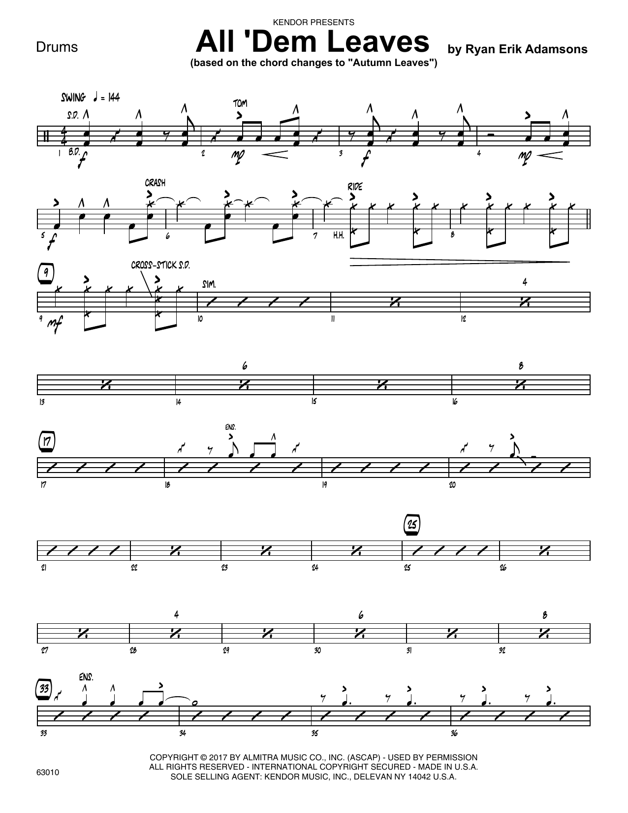 All 'Dem Leaves (based on the chord changes to Autumn Leaves) - Drum Set Sheet Music