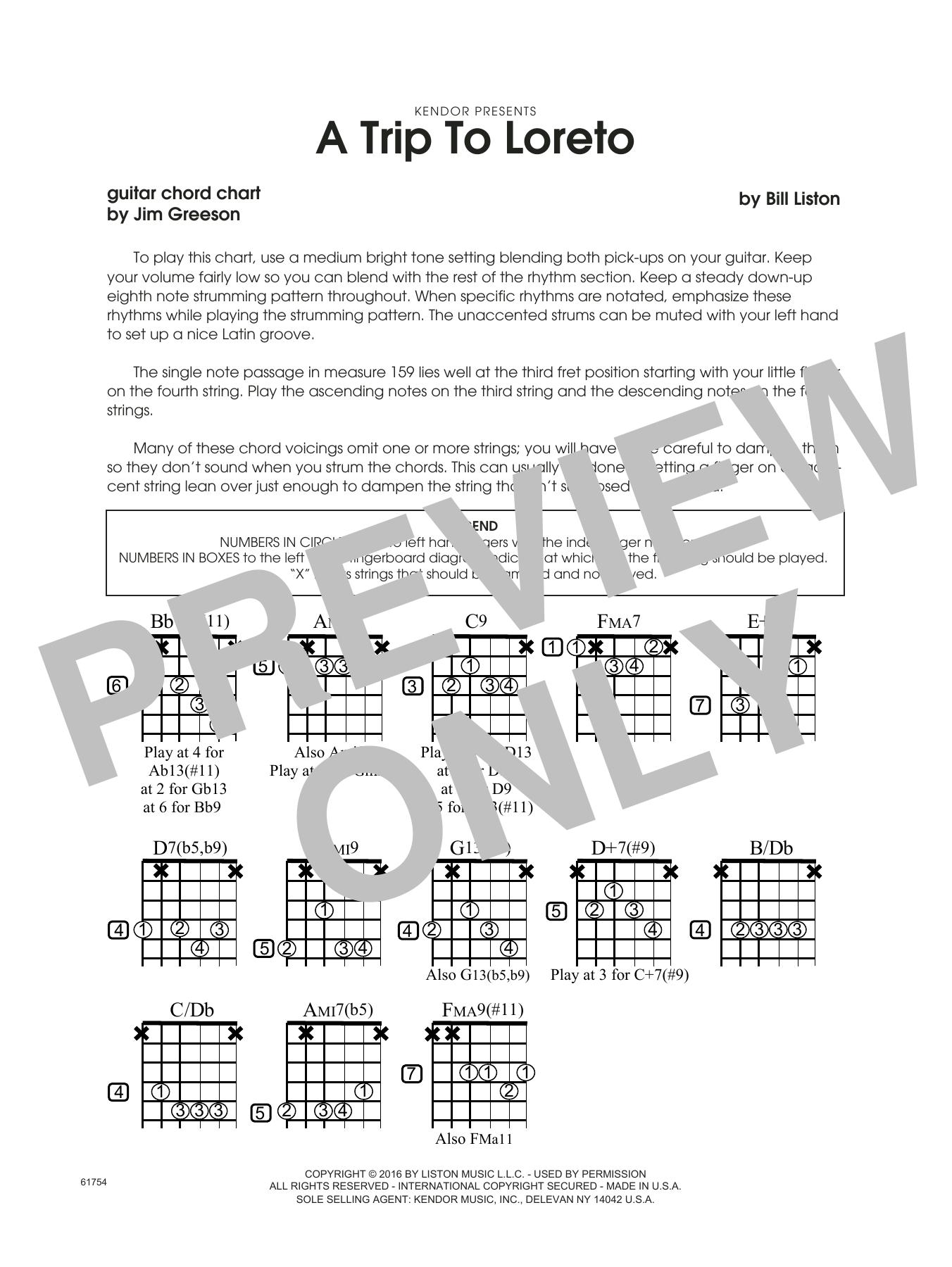 A Trip To Loreto - Guitar Chord Chart Sheet Music