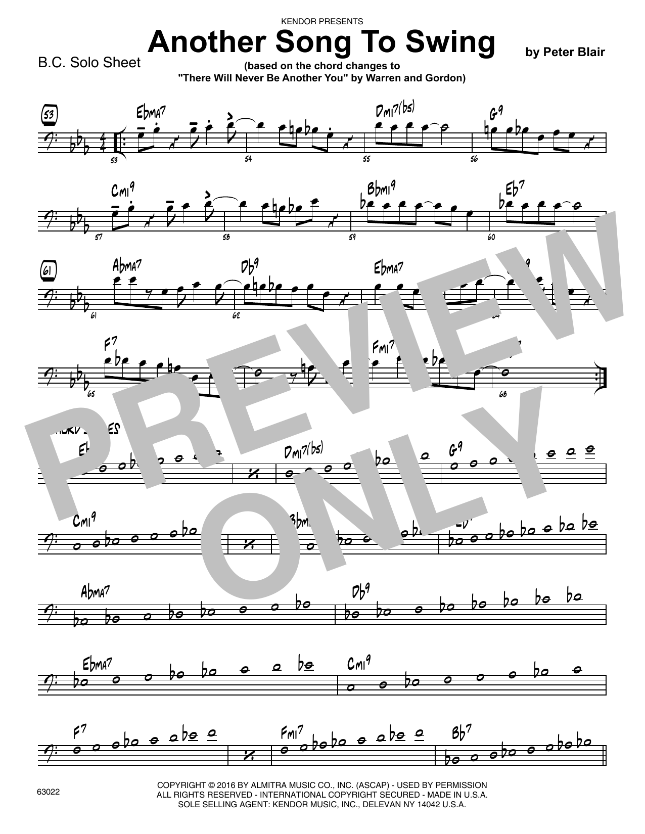 Another Song To Swing - Sample Solo - Bass Clef Instr. Sheet Music