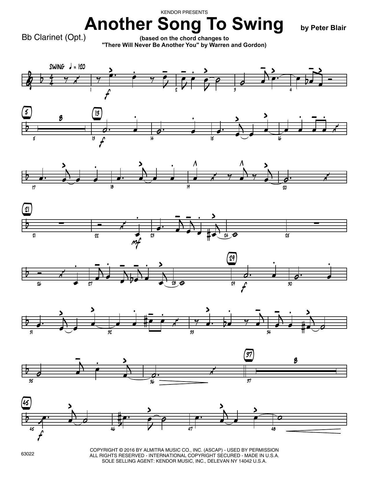 Another Song To Swing - Bb Clarinet Sheet Music