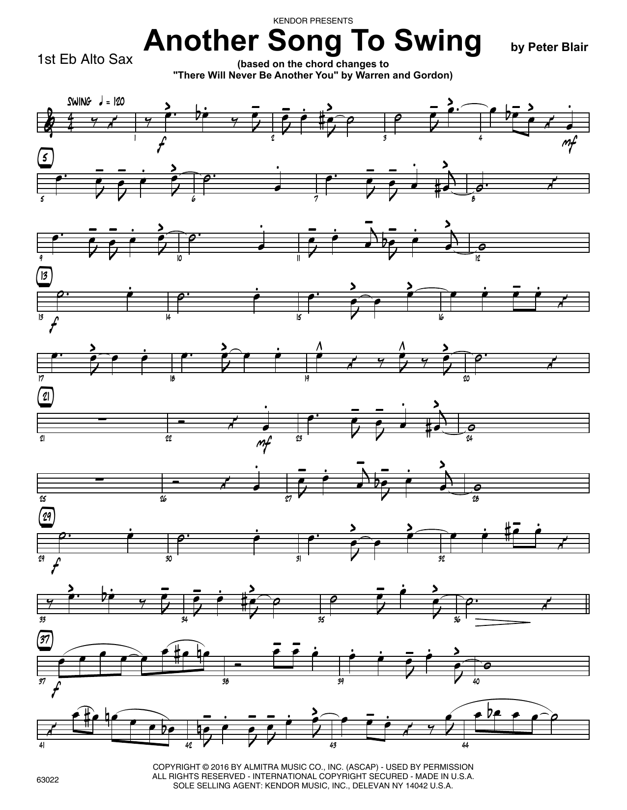 Another Song To Swing - 1st Eb Alto Saxophone Sheet Music