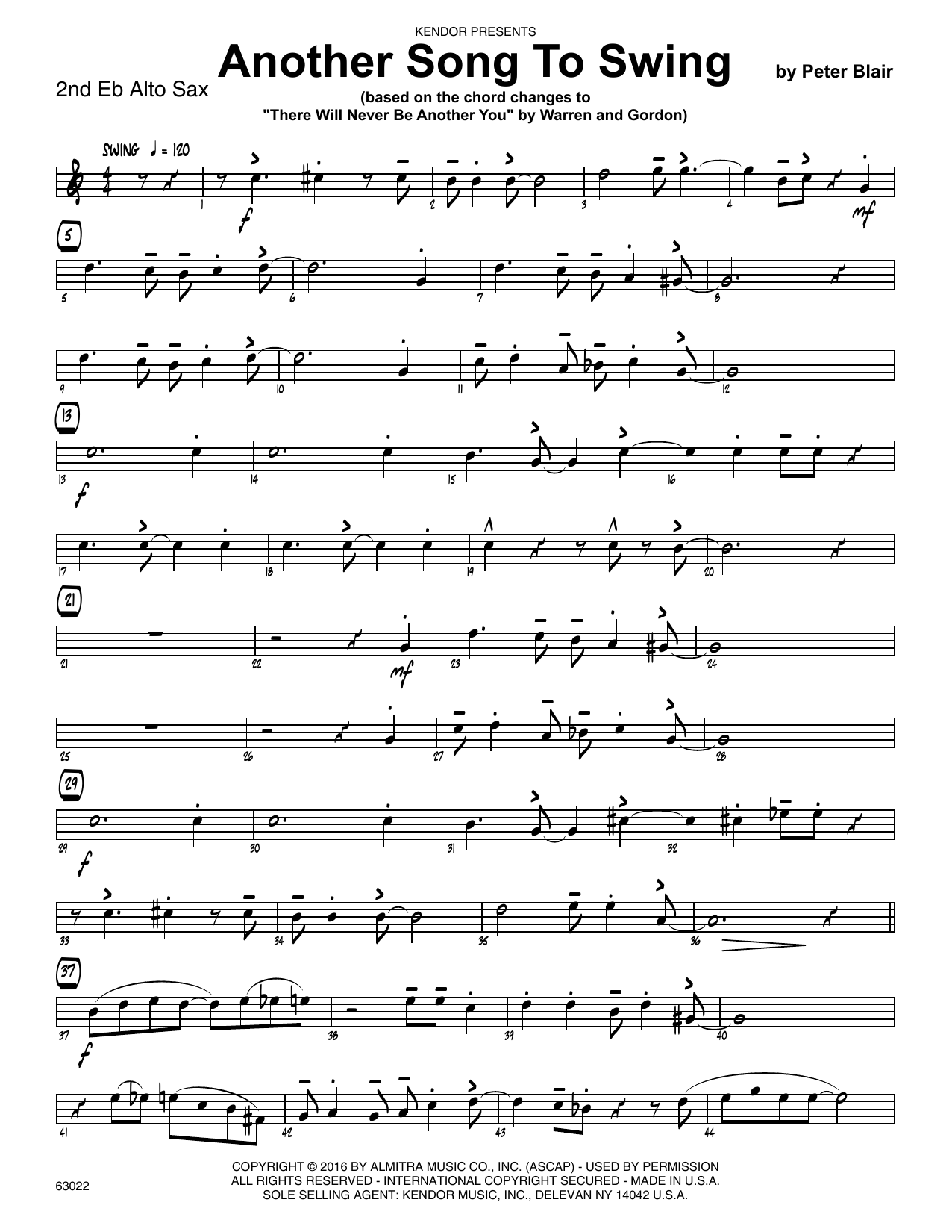 Another Song To Swing - 2nd Eb Alto Saxophone Sheet Music