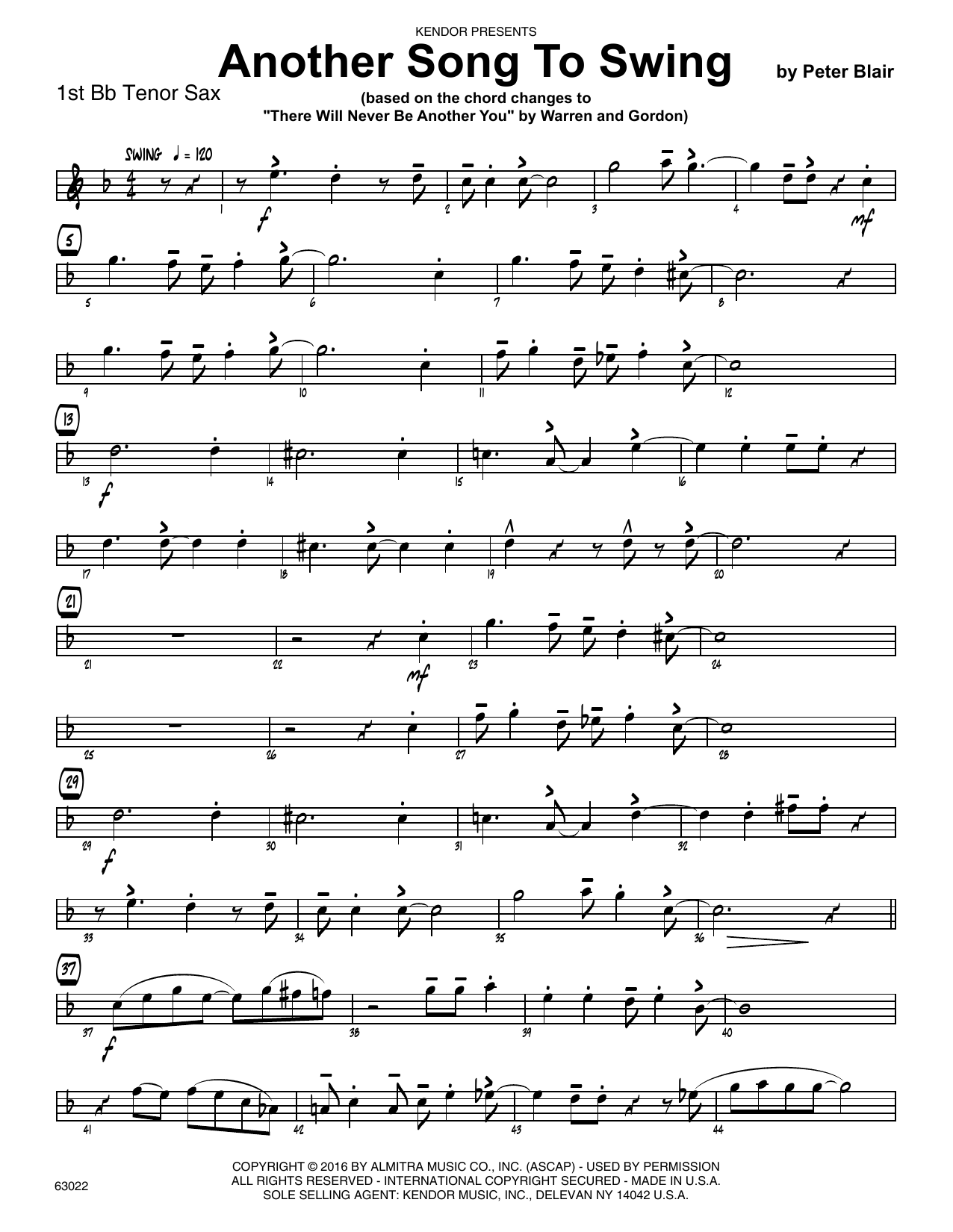 Another Song To Swing - 1st Tenor Saxophone Sheet Music