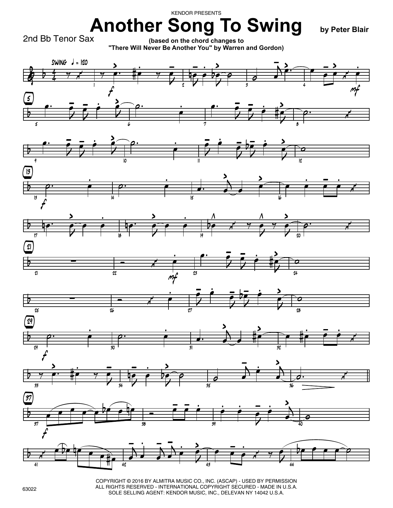Another Song To Swing - 2nd Bb Tenor Saxophone Sheet Music