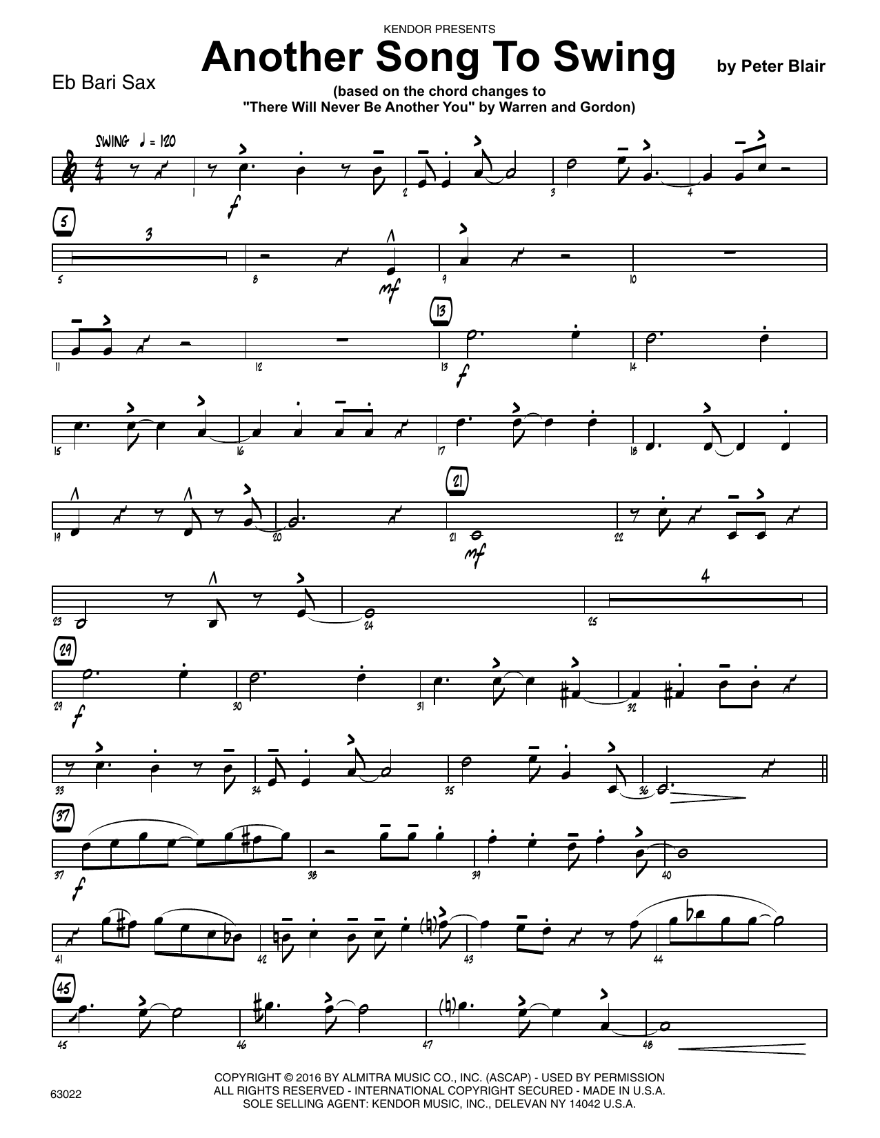 Another Song To Swing - Eb Baritone Saxophone Sheet Music