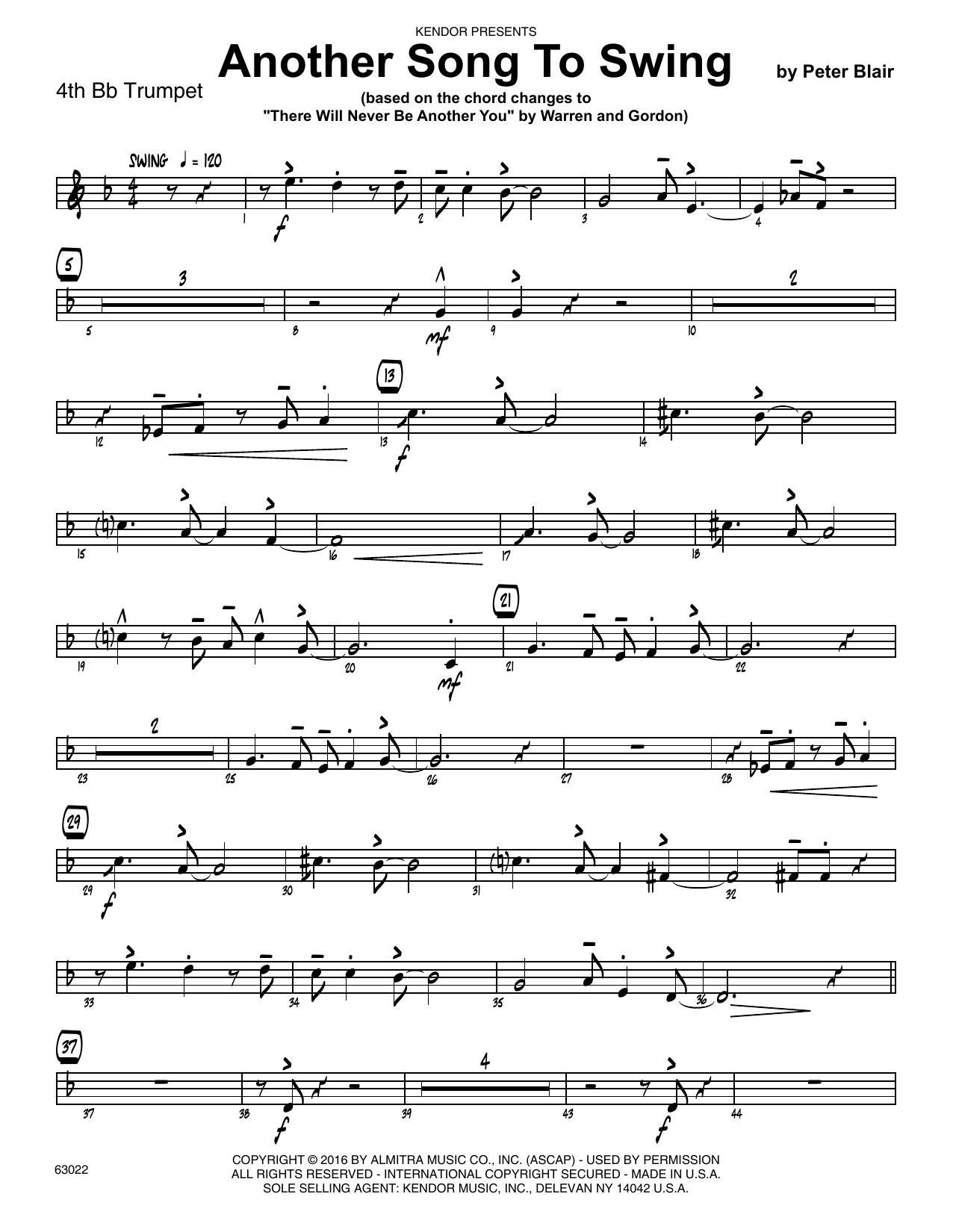 Another Song To Swing - 4th Bb Trumpet Sheet Music