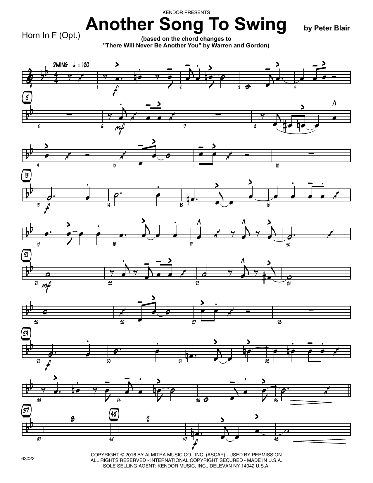 Another Song To Swing - Horn in F Sheet Music