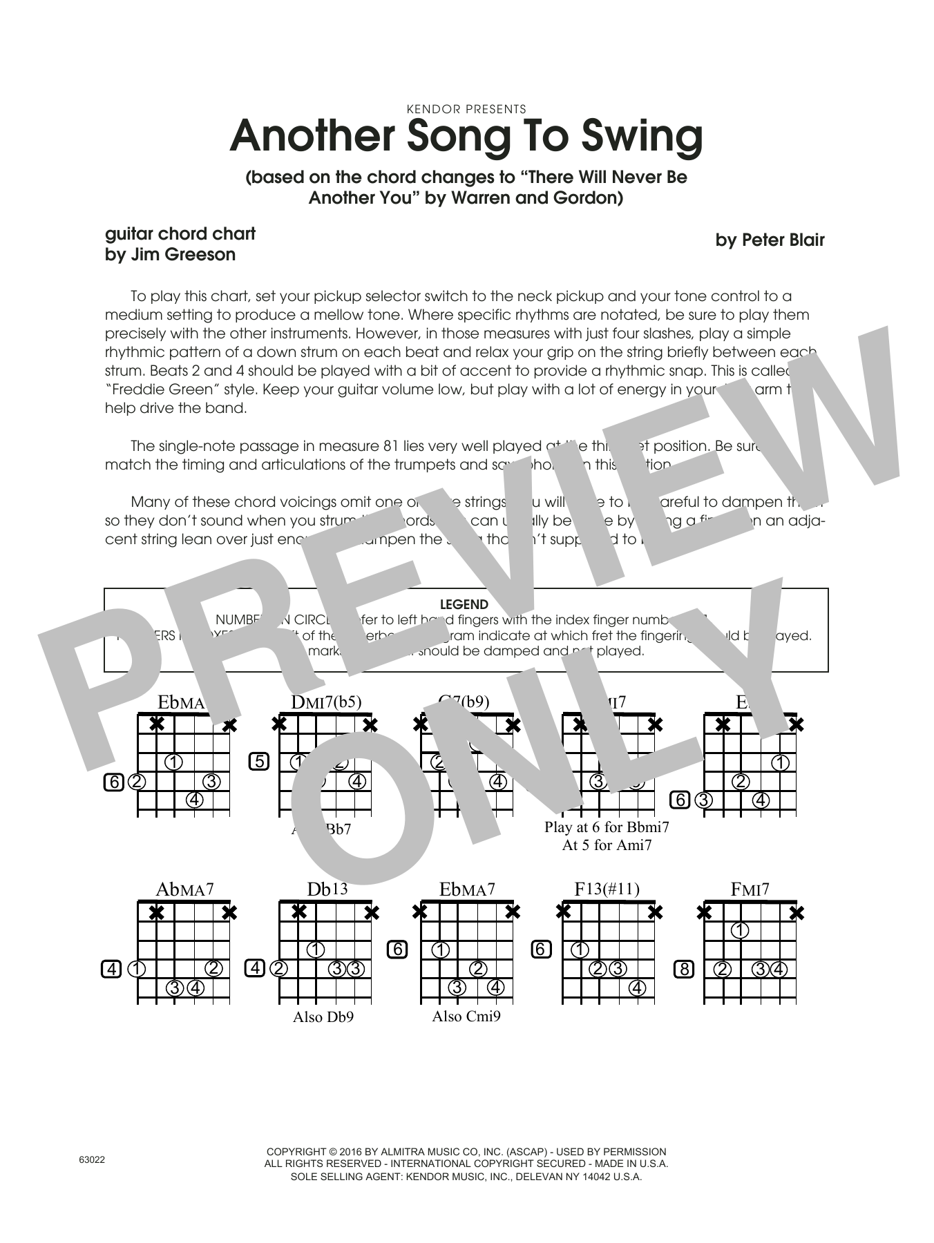 Another Song To Swing - Guitar Chord Chart Sheet Music