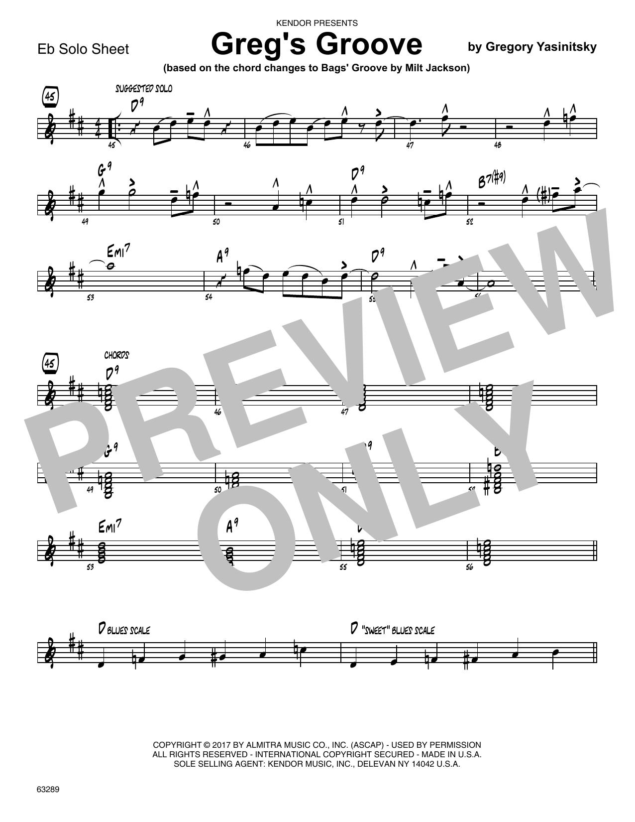 Greg's Groove - Solo Sheet - Alto Sax Sheet Music