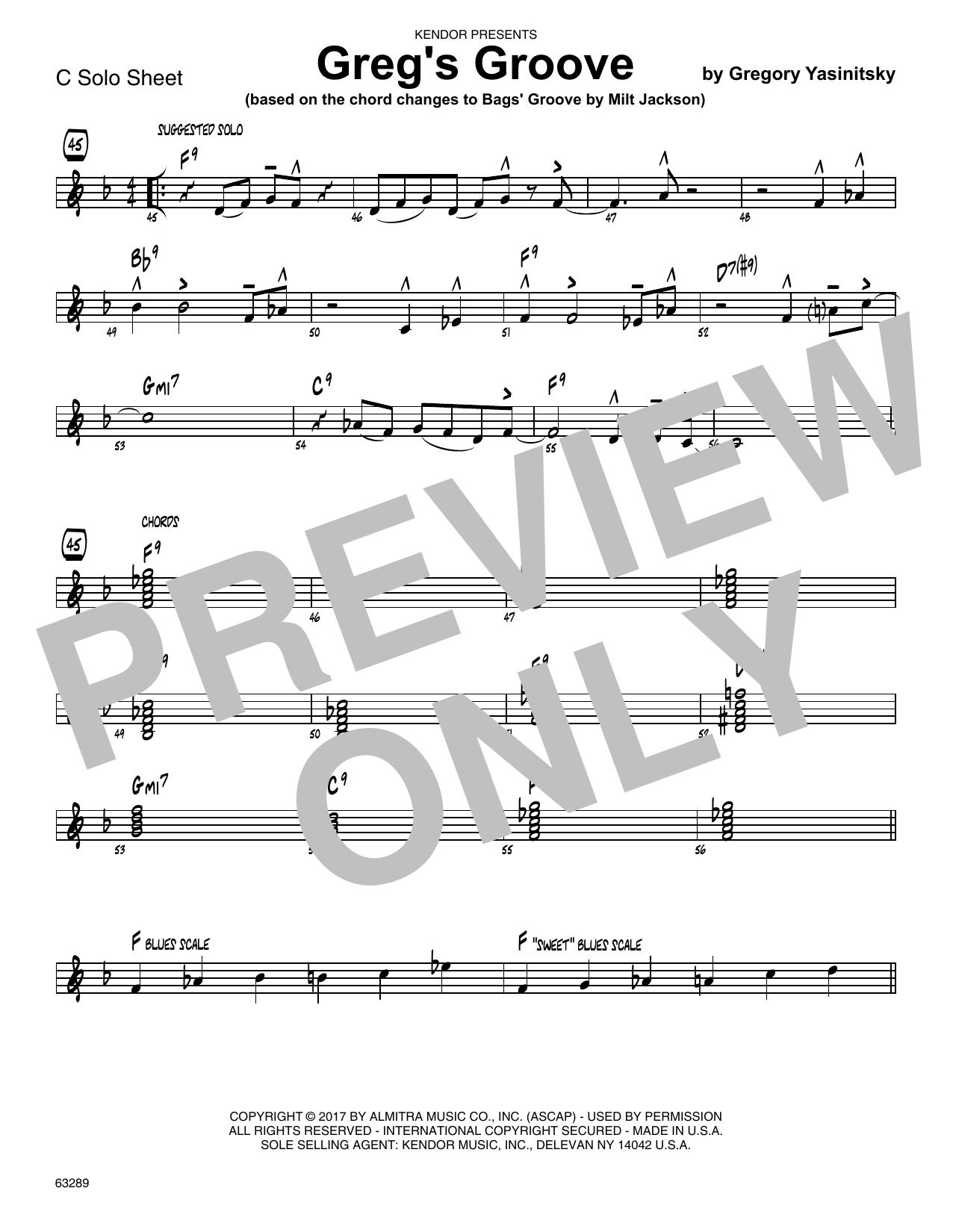Greg's Groove - Solo Sheet - Trumpet Partition Digitale
