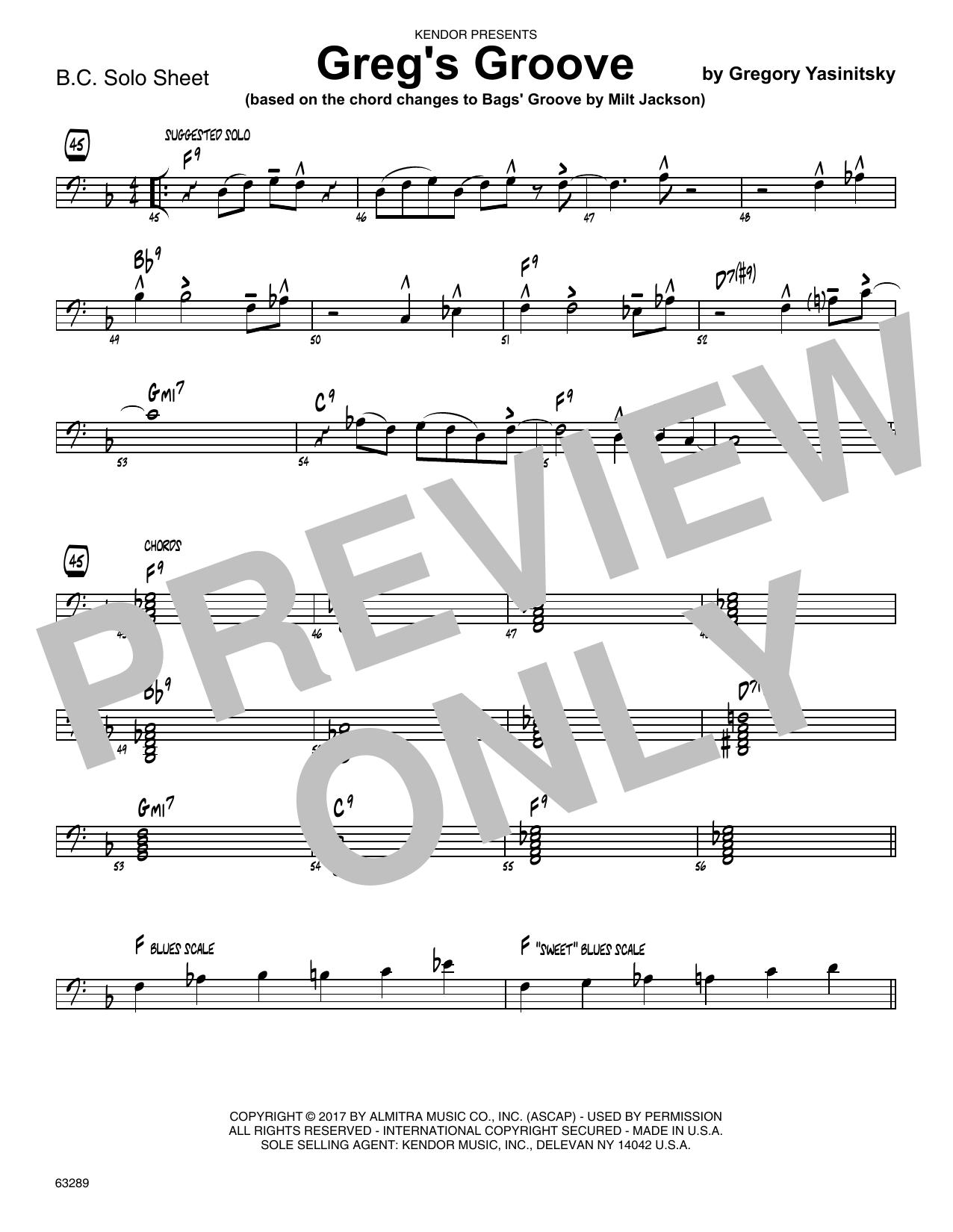 Greg's Groove - Solo Sheet - Trombone Sheet Music