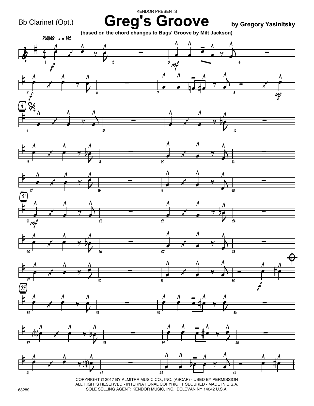 Greg's Groove - Bb Clarinet Sheet Music